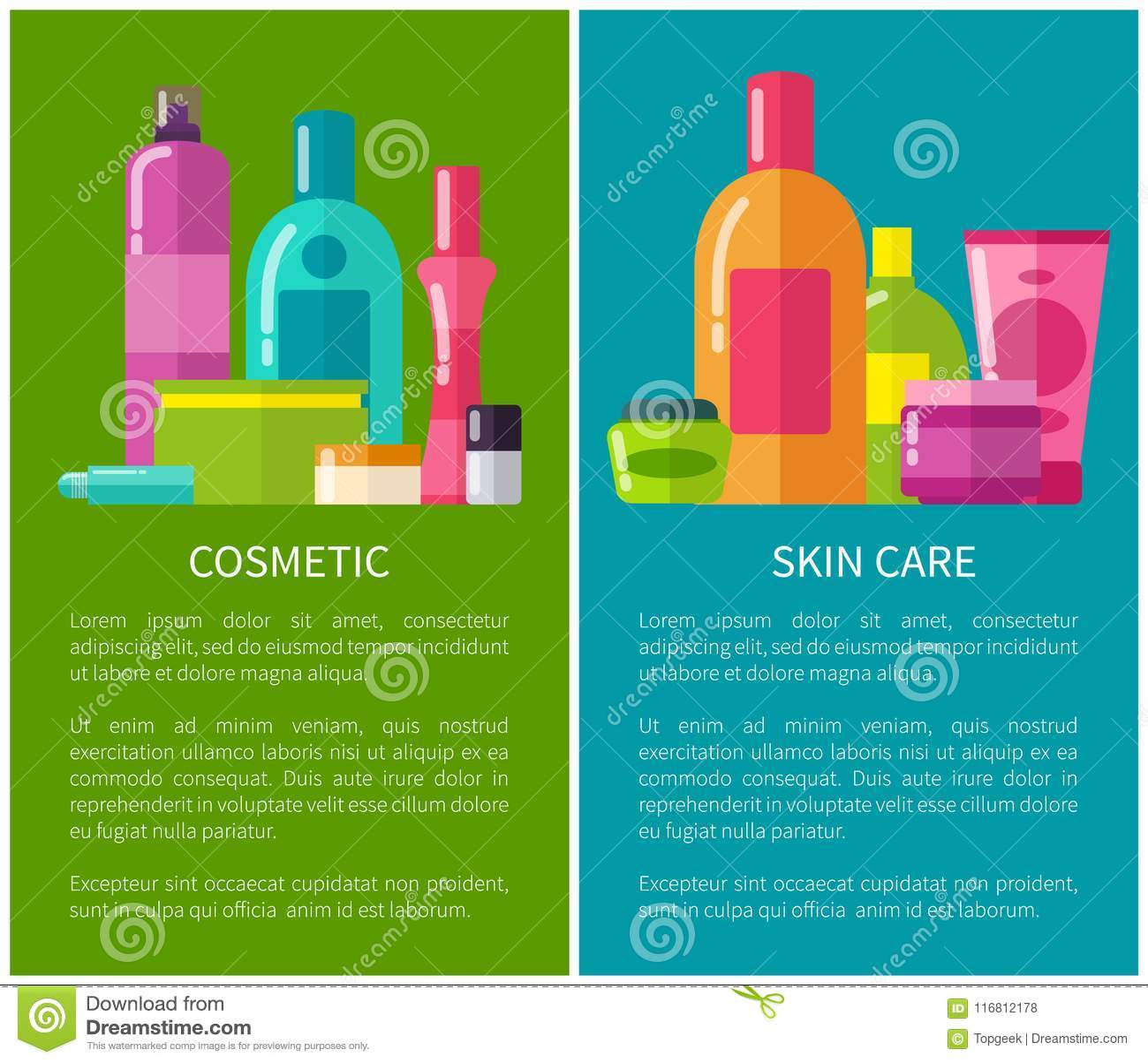 Illustrazione di vettore delle insegne di cura di pelle e del cosmetico