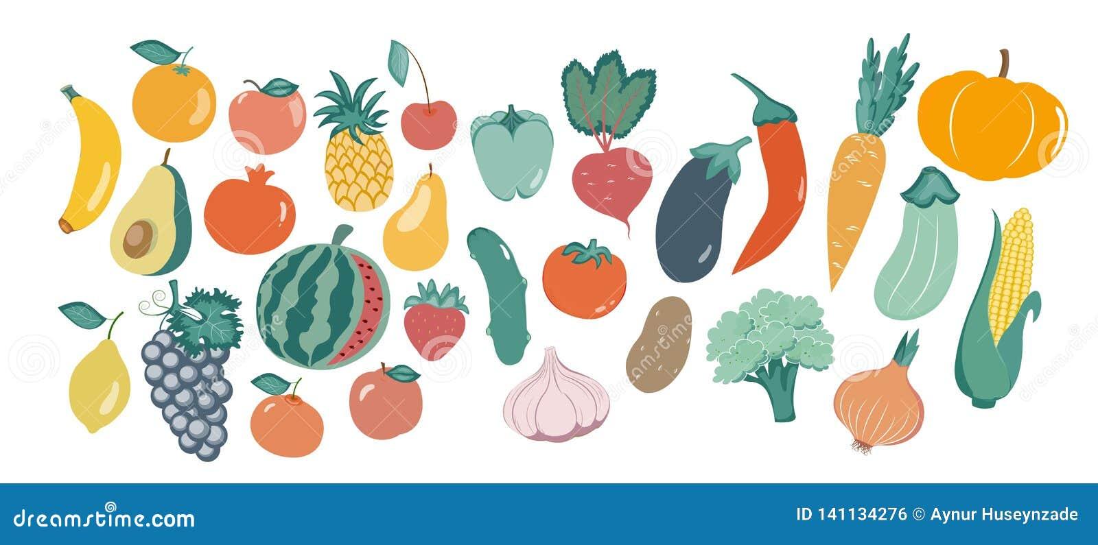 Illustrazione di vettore delle verdure differenti nello stile piano Illustrazione di vettore