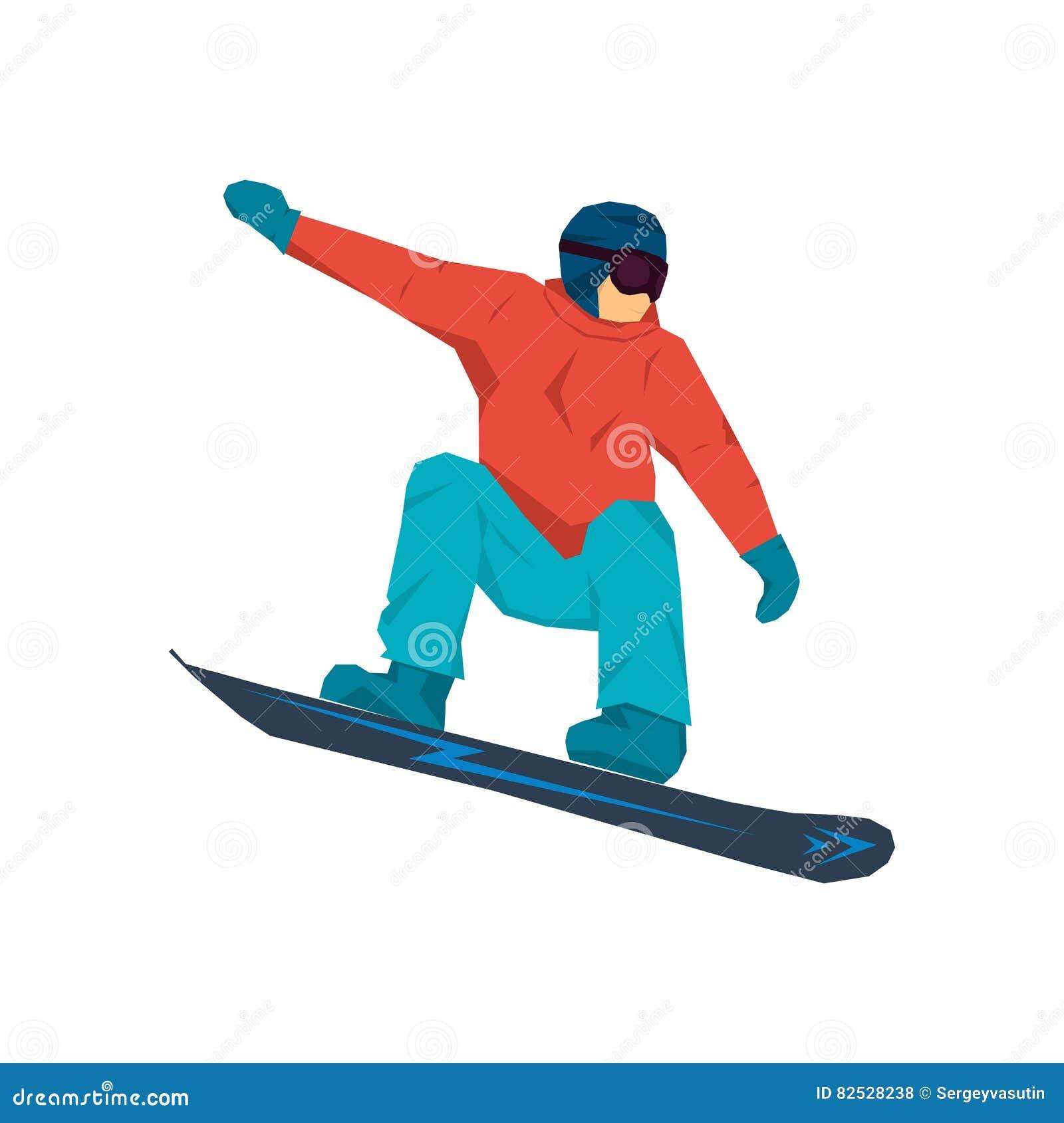 Illustrazione di vettore dello snowboarder nel salto
