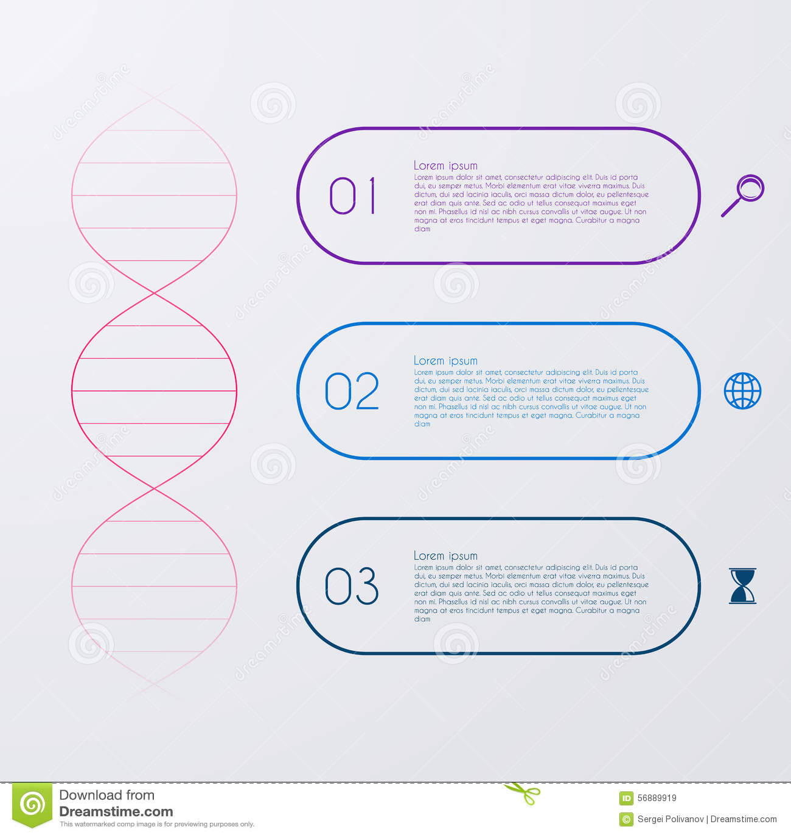 Illustrazione di vettore di un infographics della molecola del DNA