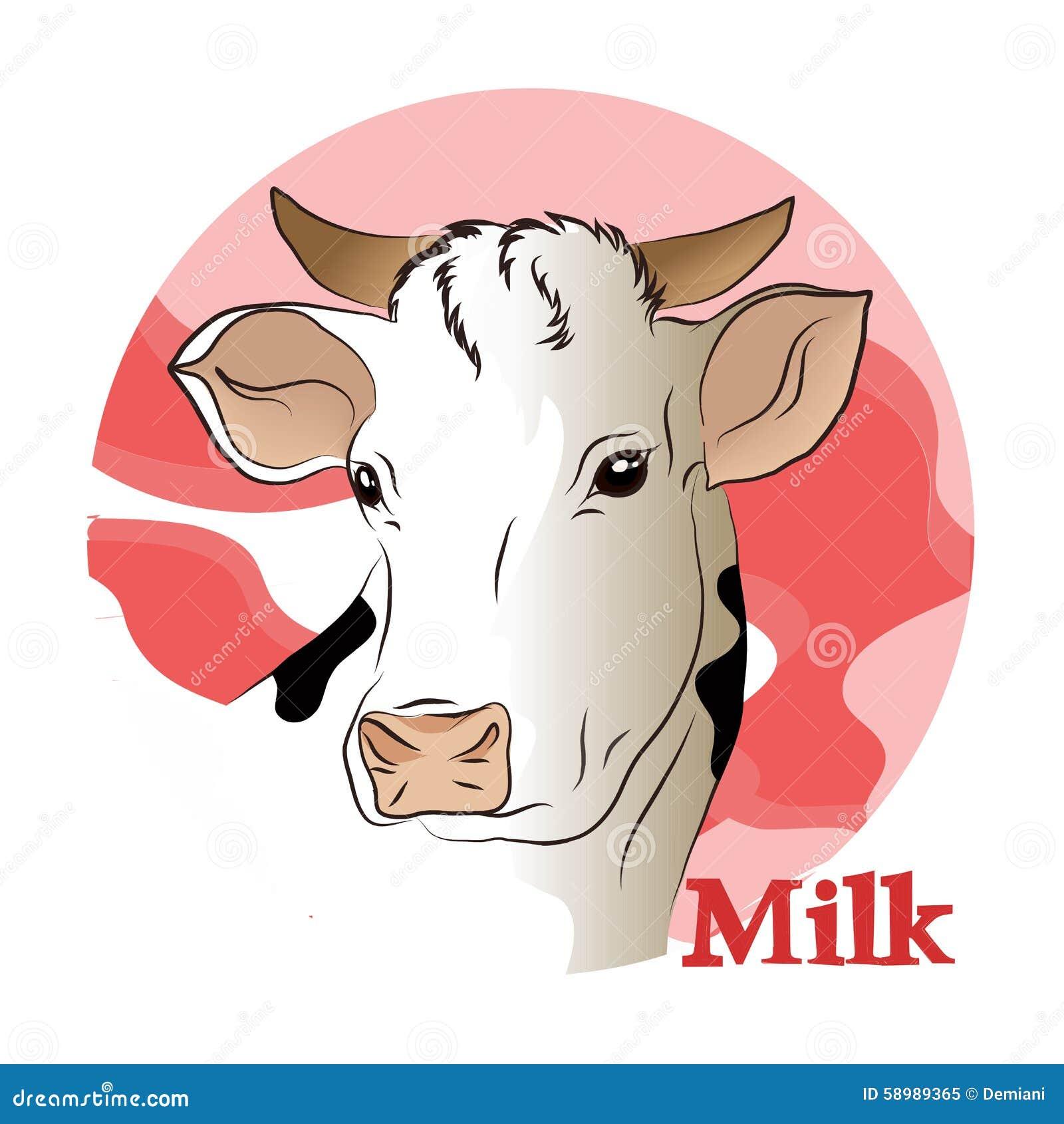 Illustrazione Di Vettore Di Una Mucca Bianca (latte