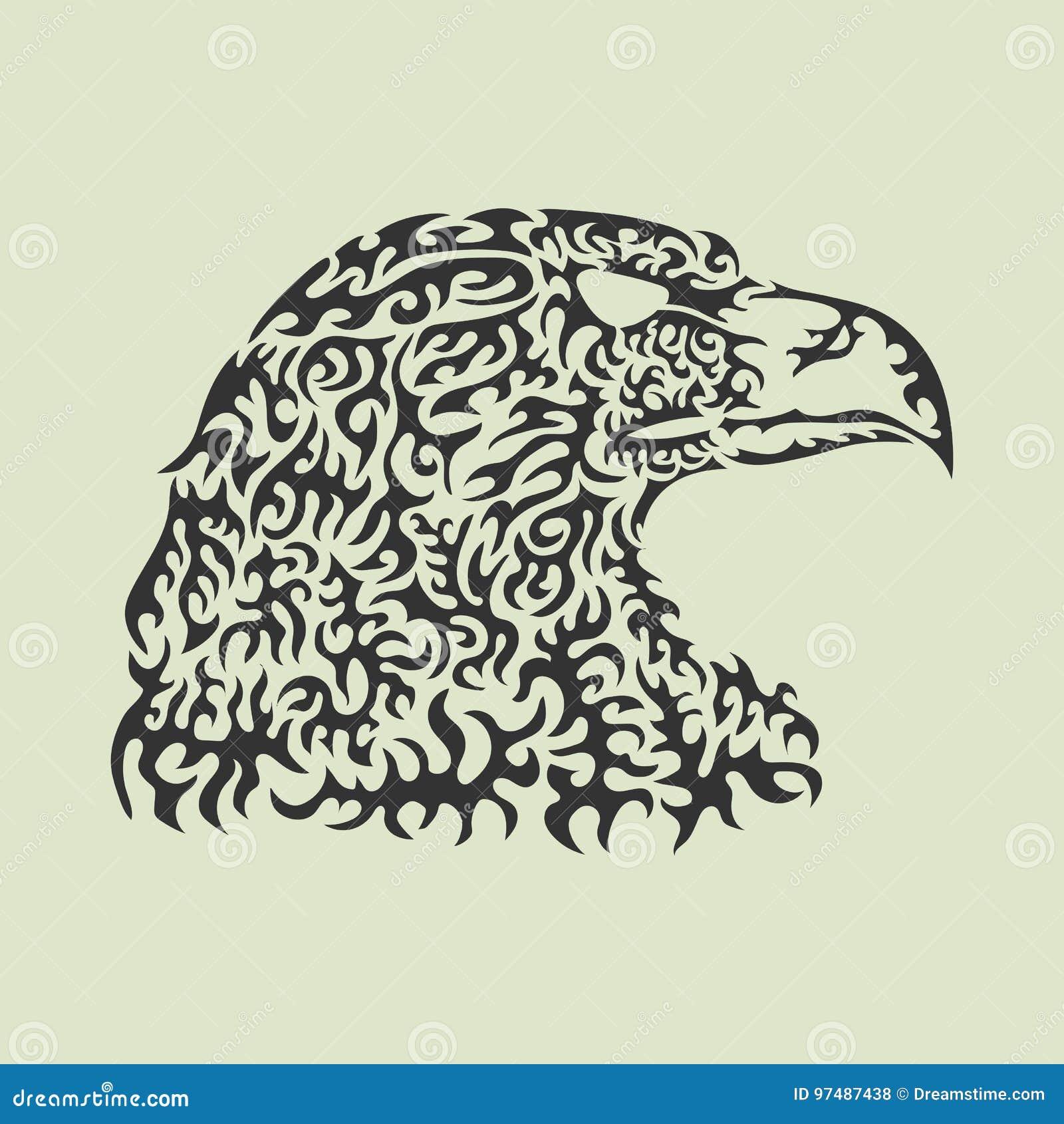 Illustrazione di vettore di una testa dell aquila fatta degli elementi modellati