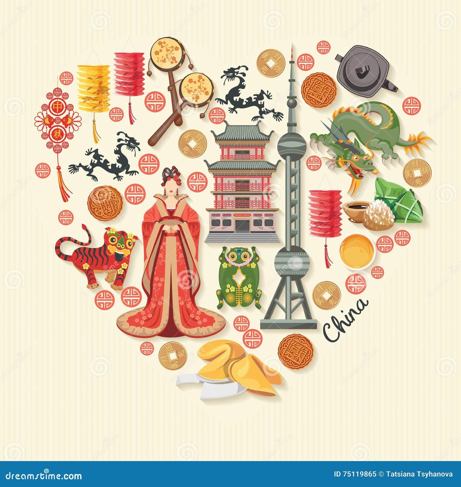 Illustrazione di vettore di viaggio della Cina Il cinese ha messo con l architettura, alimento, costumi, simboli tradizionali nel