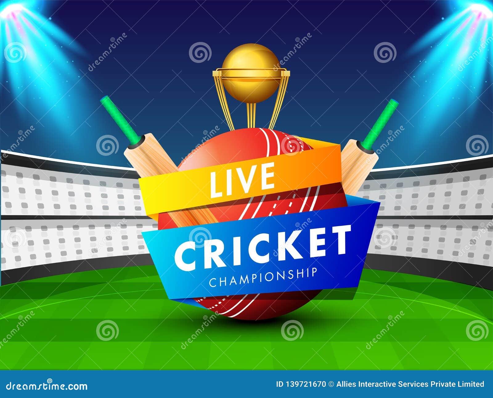 Illustrazione di vettore di palla da cricket, dei pipistrelli e del trofeo dorato sul fondo di vista dello stadio di notte