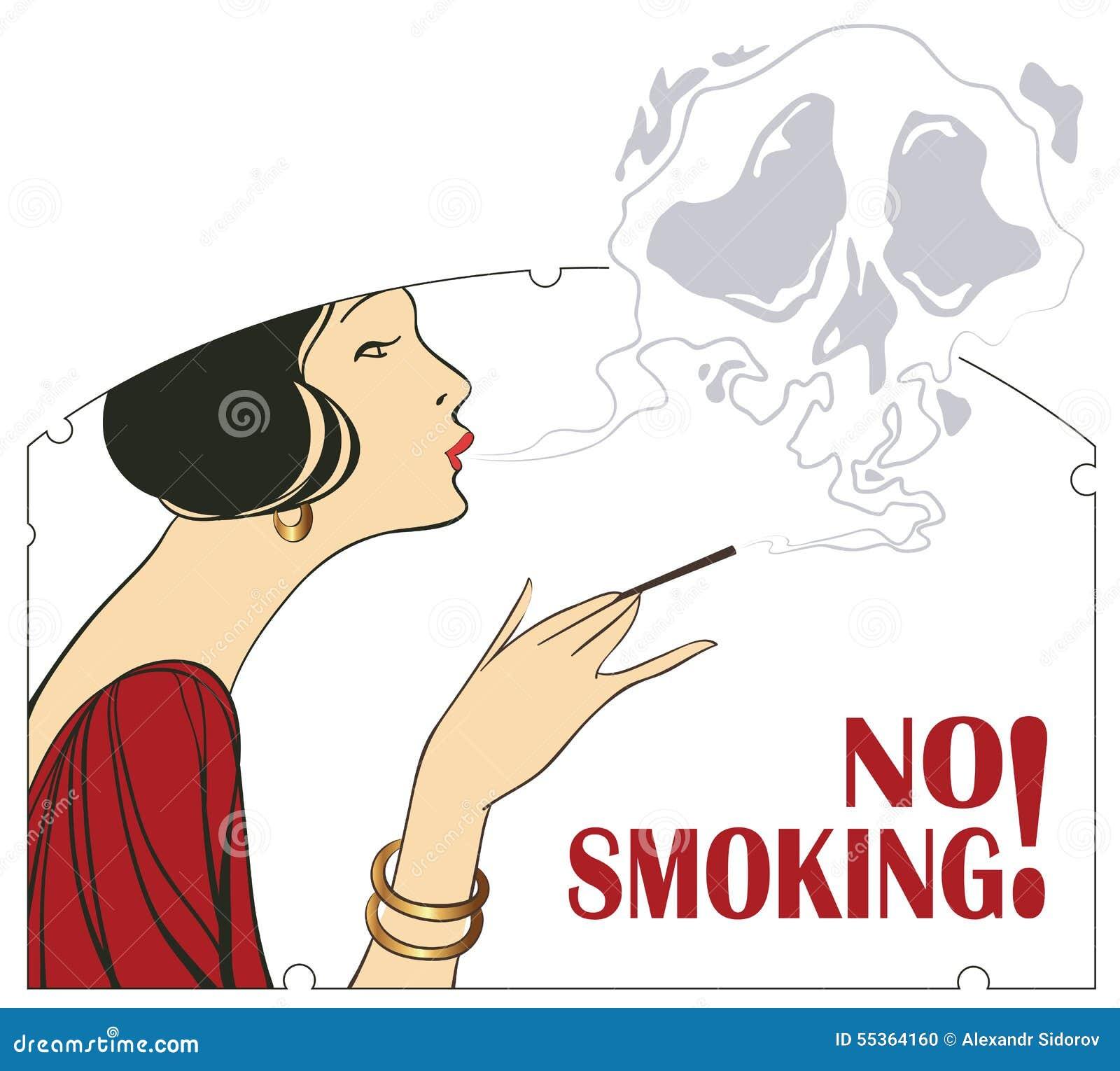 Illustrazione di vettore Proibizione di fumo Donna con un cigare