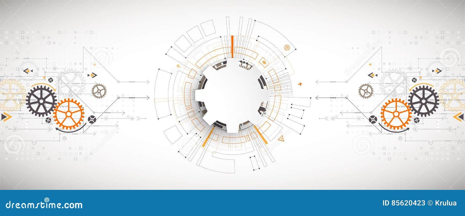 Illustrazione di vettore, tecnologia digitale di Ciao-tecnologia e ingegneria