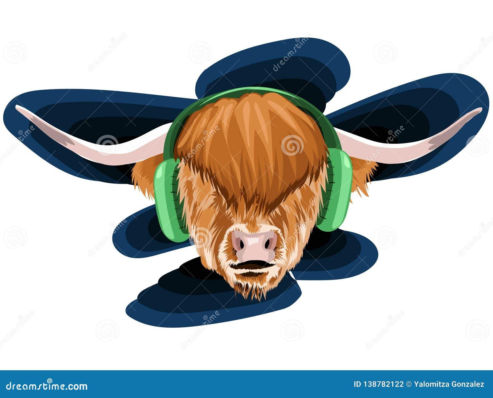 Illustrazione di vettore di un fronte di un toro con il polina e capelli molto lunghi e marrone lanuginoso con due grandi corni i