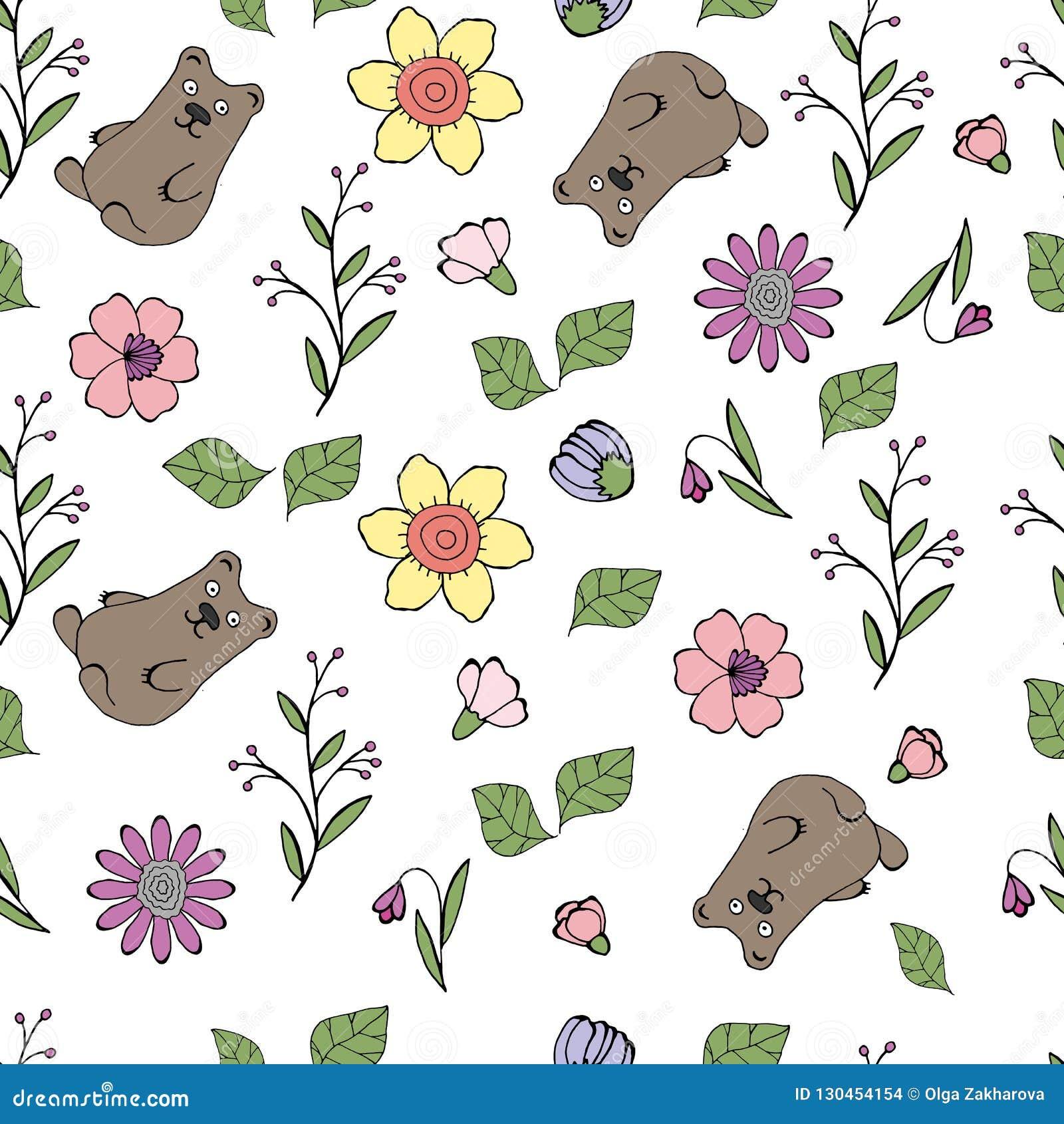 Illustrazione di vettore di un modello con i fiori, foglie, orsi