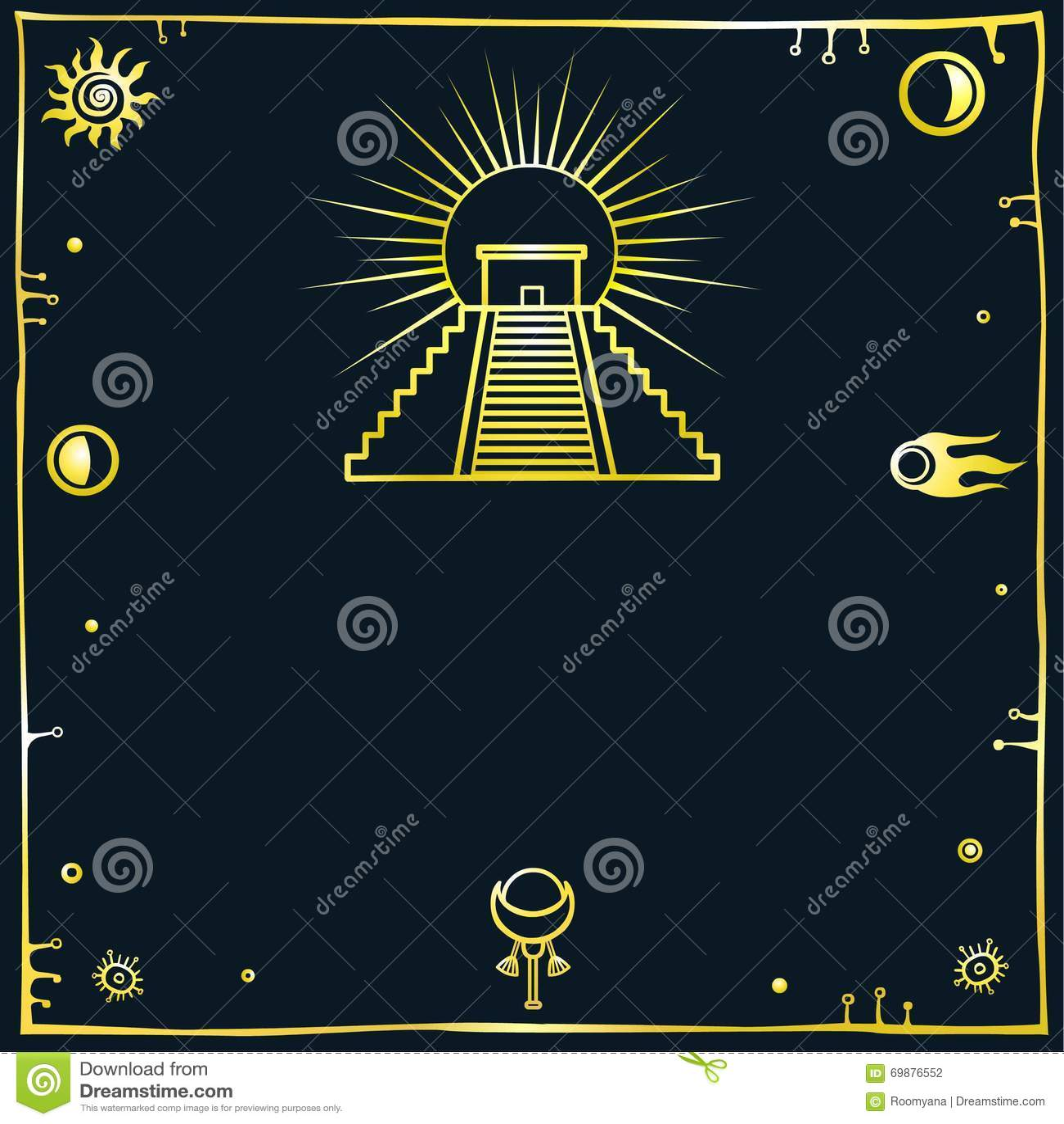 Illustrazione di vettore: una siluetta della piramide messicana su un fondo nero Imitazione dell oro