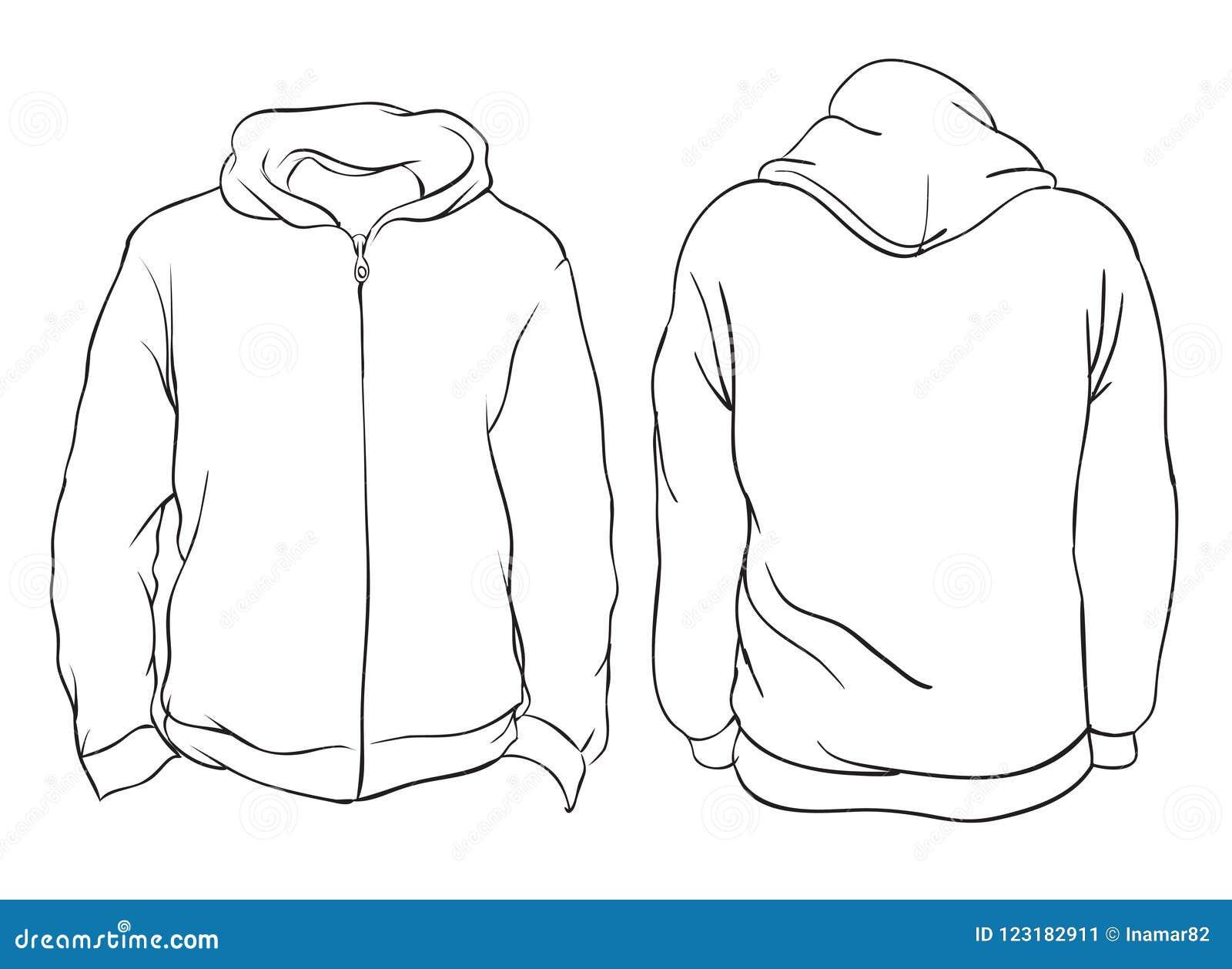 Illustrazione di vettore Viste anteriori e posteriori del rivestimento in bianco di maglia con cappuccio I