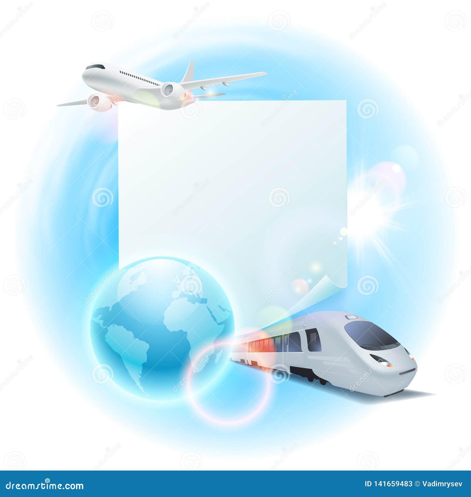Illustrazione di viaggio di concetto con l aeroplano, il treno, il globo e la nota per il vostro testo