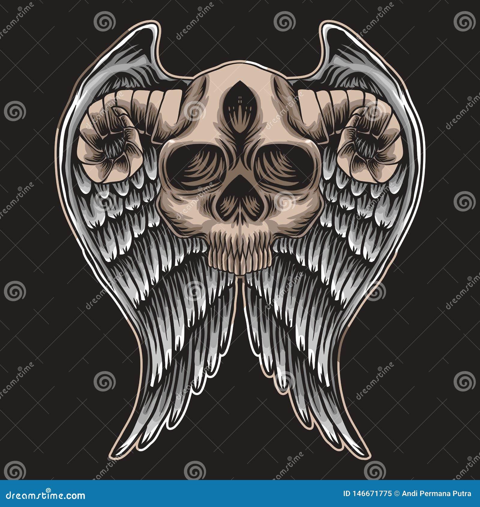 Illustrazione di Wing Vector del corno del cranio
