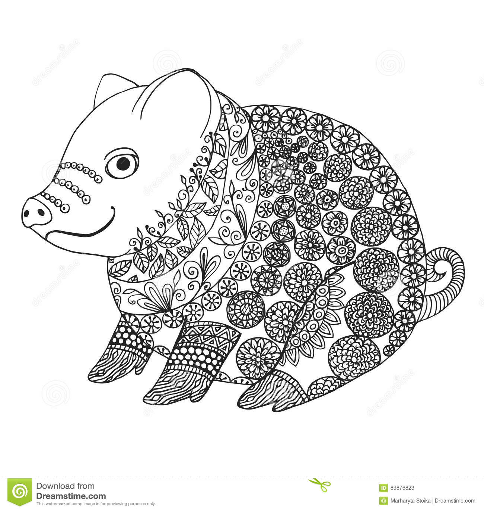 Illustrazione Di Zentangle Con Il Maiale Porcellino Di Groviglio O