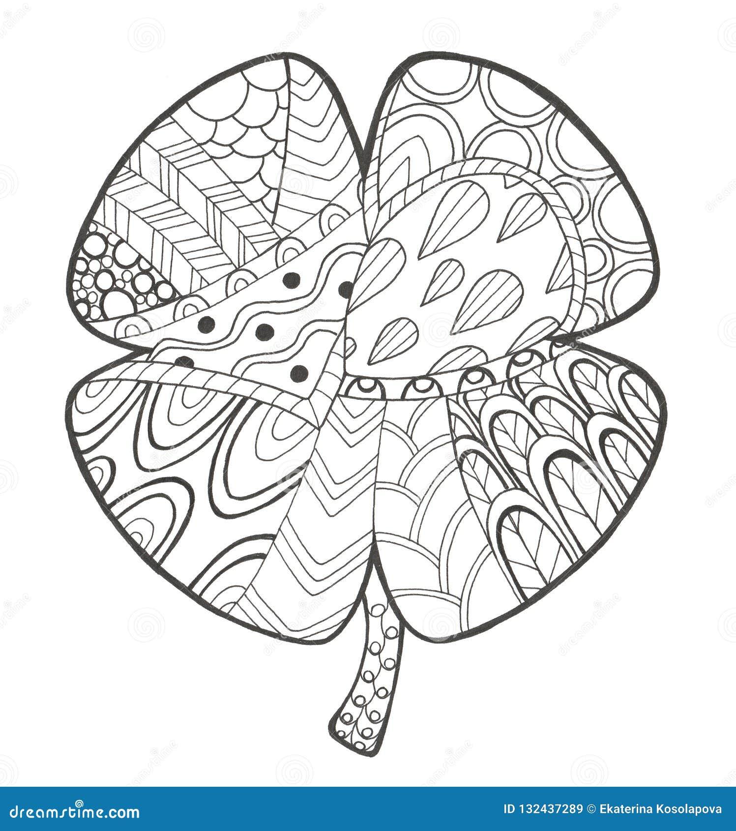 Illustrazione disegnata a mano con il trifoglio di groviglio di zen e di scarabocchio