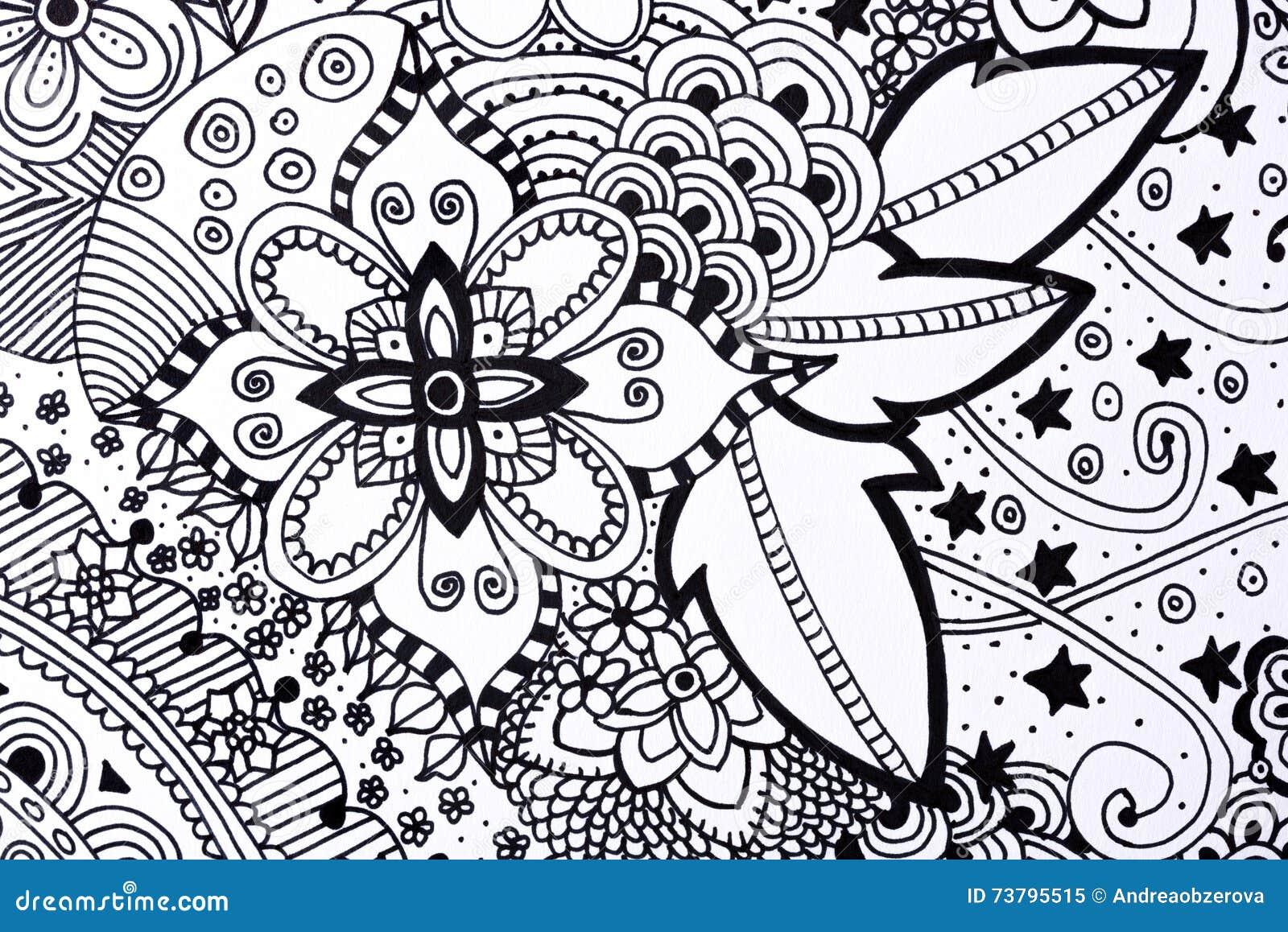Illustrazione disegnata a mano del libro da colorare adulto