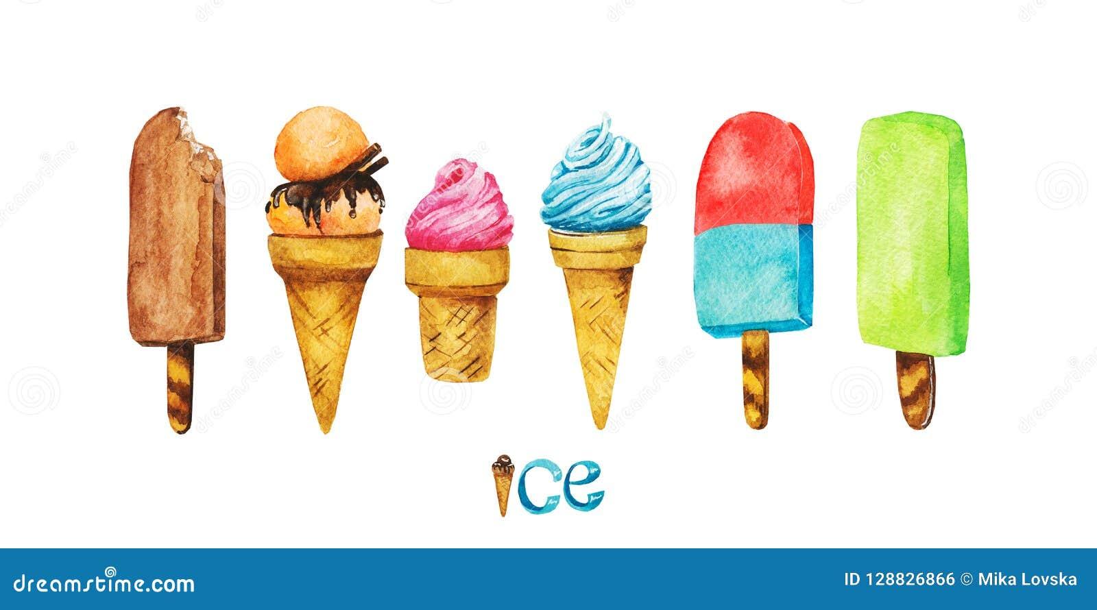 Illustrazione disegnata a mano deliziosa dolce del deserto Dessert di estate Gelato dell acquerello isolato su un fondo bianco, s