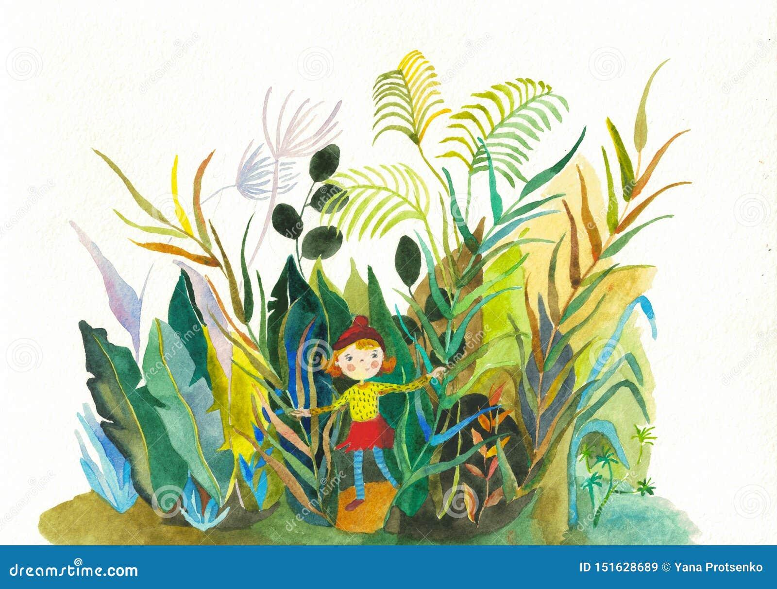 Illustrazione disegnata a mano della ragazza dell acquerello sveglio della pianta