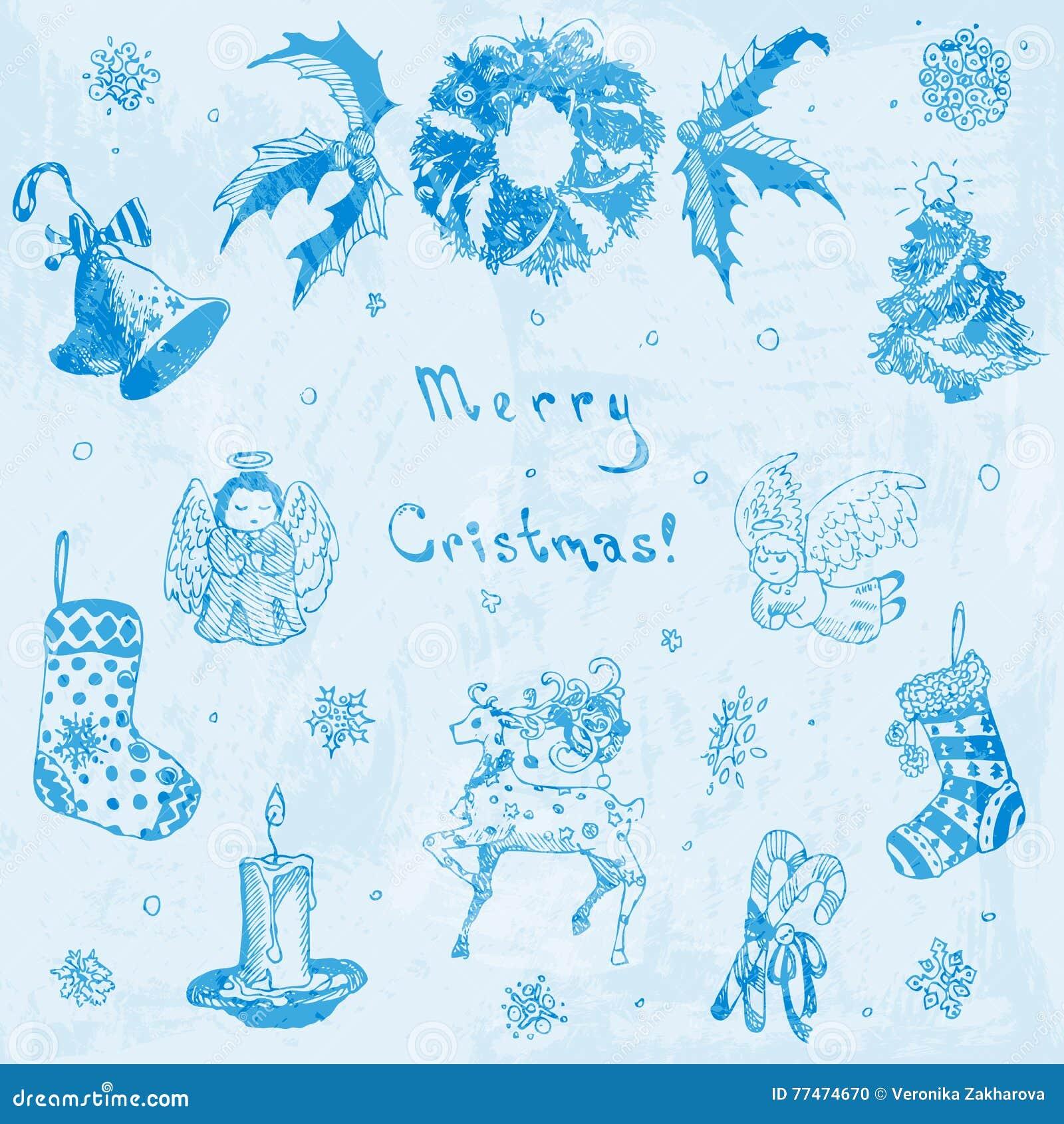 Illustrazione Disegnata A Mano Di Buon Natale Di Scarabocchio Albero