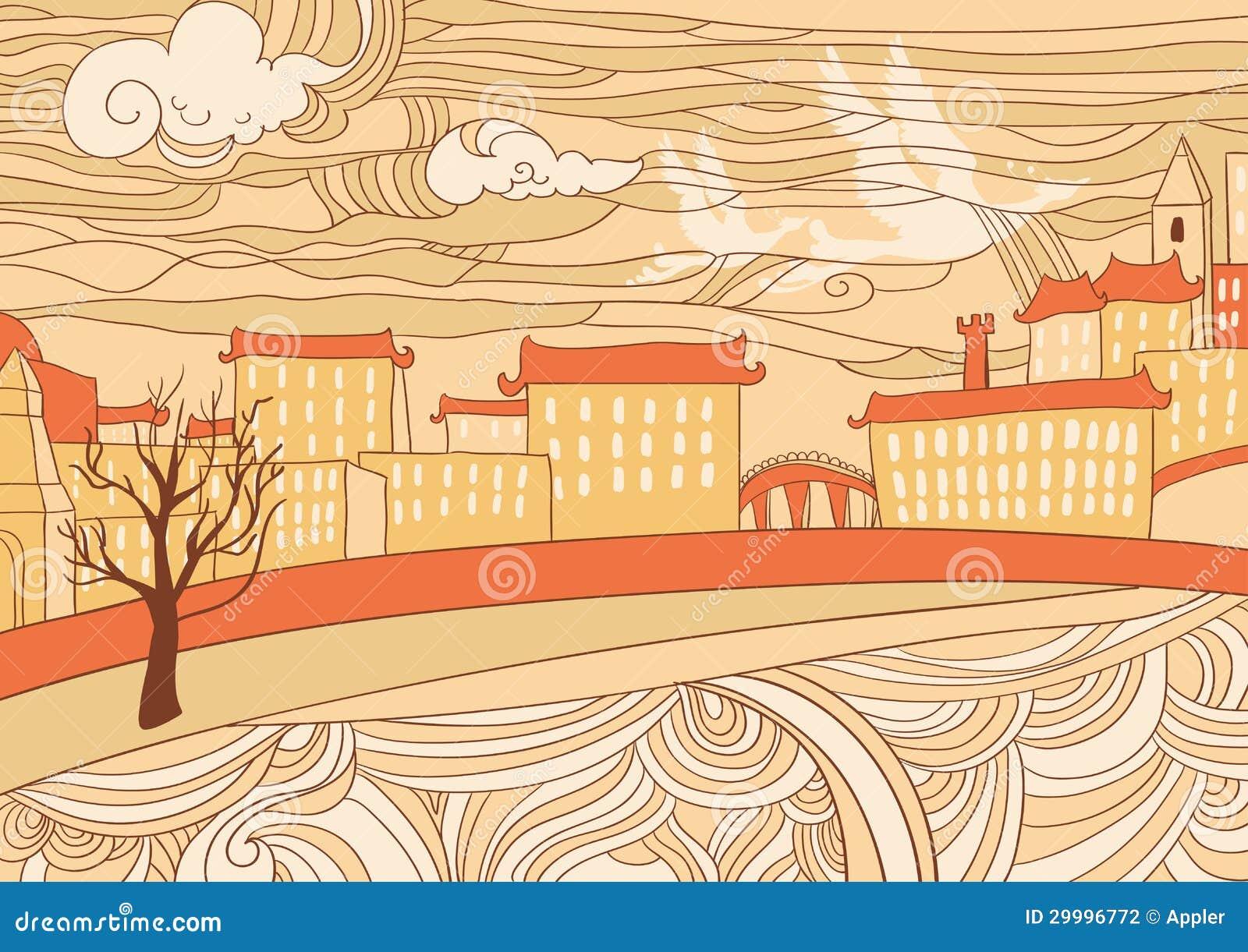 Carta da parati della citt colorata ocra fotografia for Carta da parati colorata