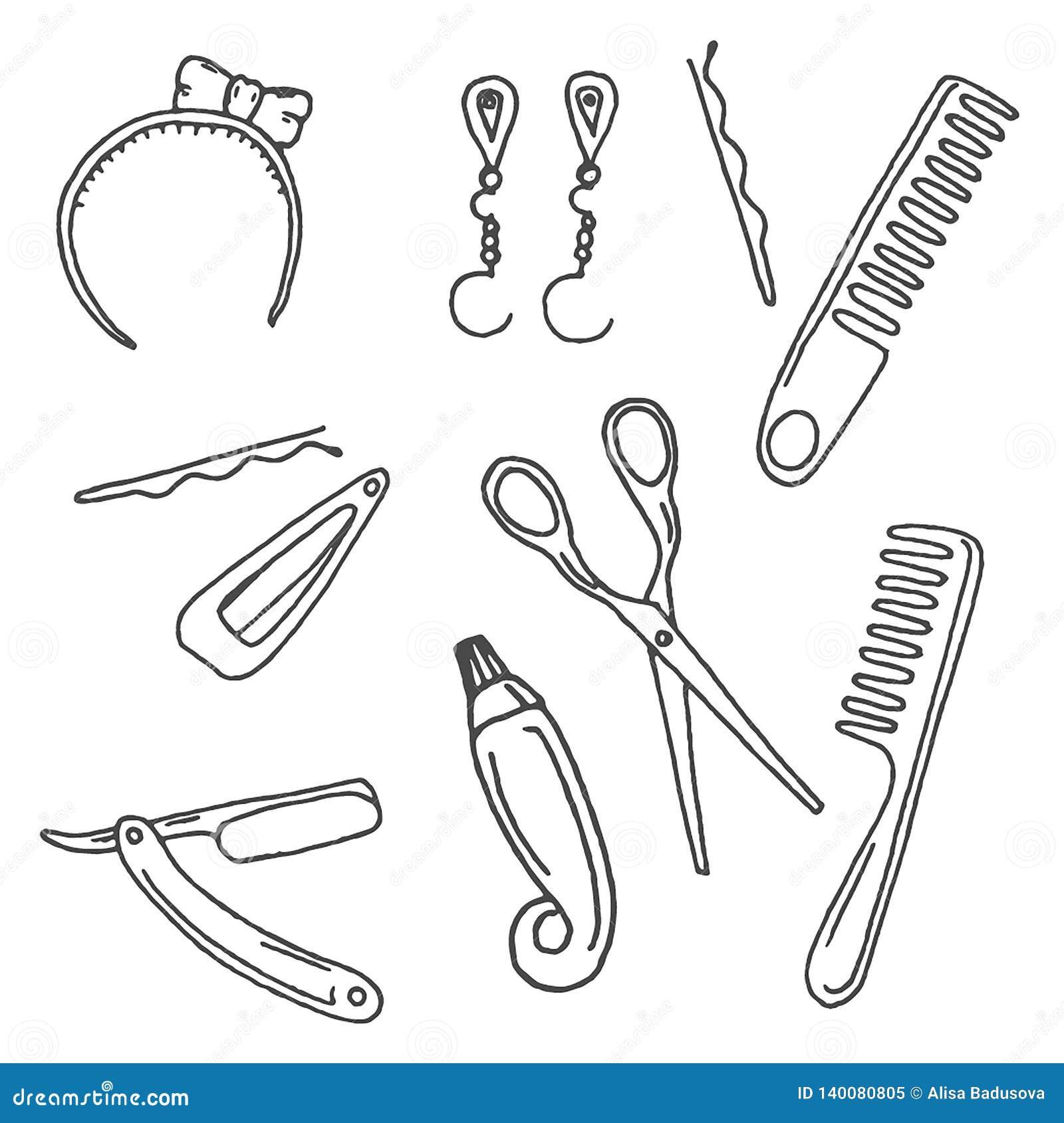 Illustrazione disegnata a mano di vettore degli accessori dell acconciatura su fondo bianco