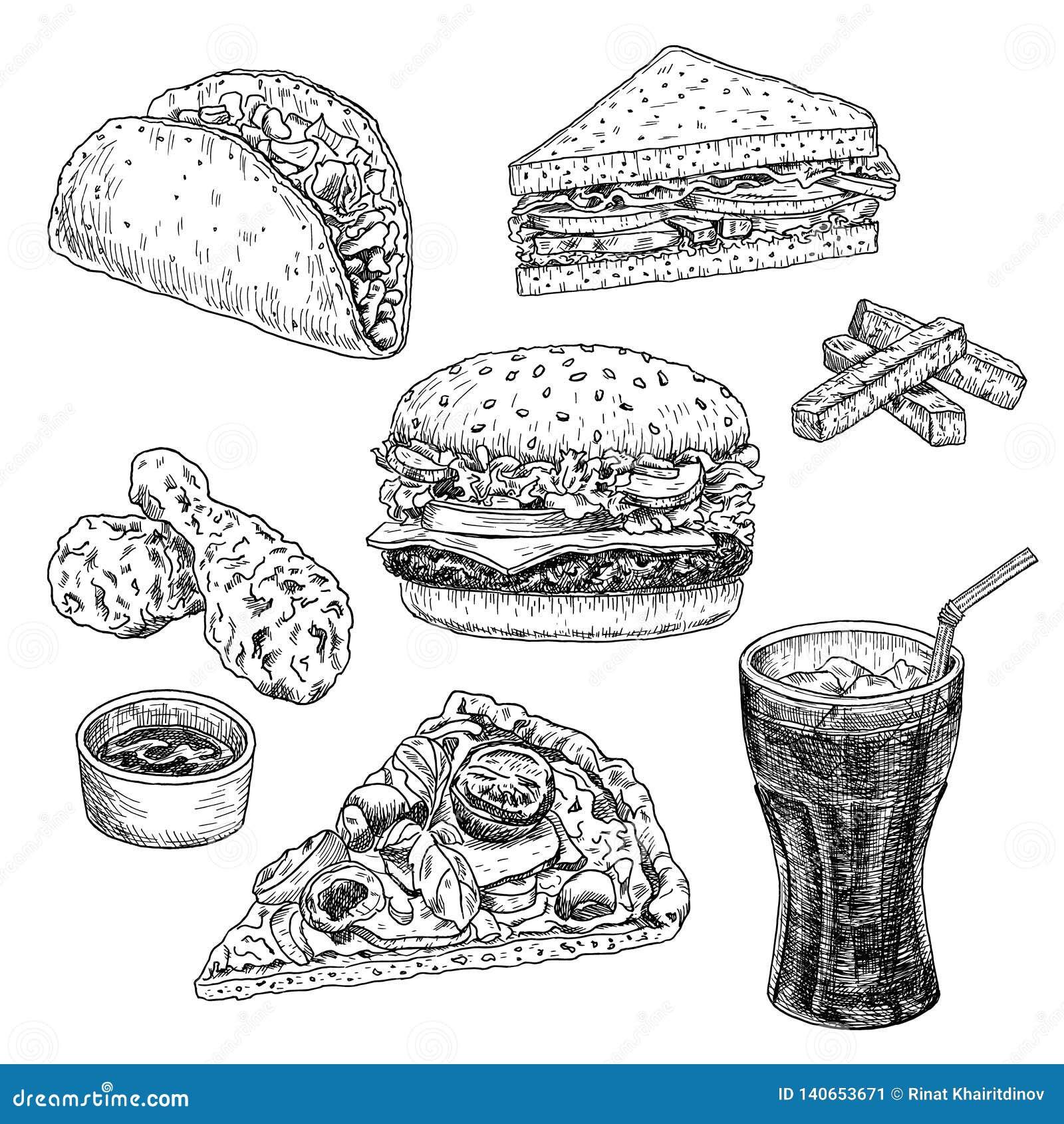 Illustrazione disegnata a mano di vettore degli alimenti a rapida preparazione Hamburger, cheeseburger, panino, pizza, pollo, tac
