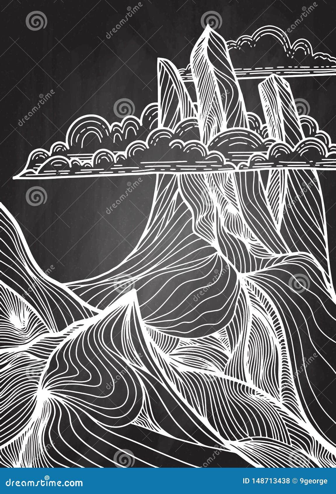 Illustrazione disegnata a mano di vettore del paesaggio della montagna