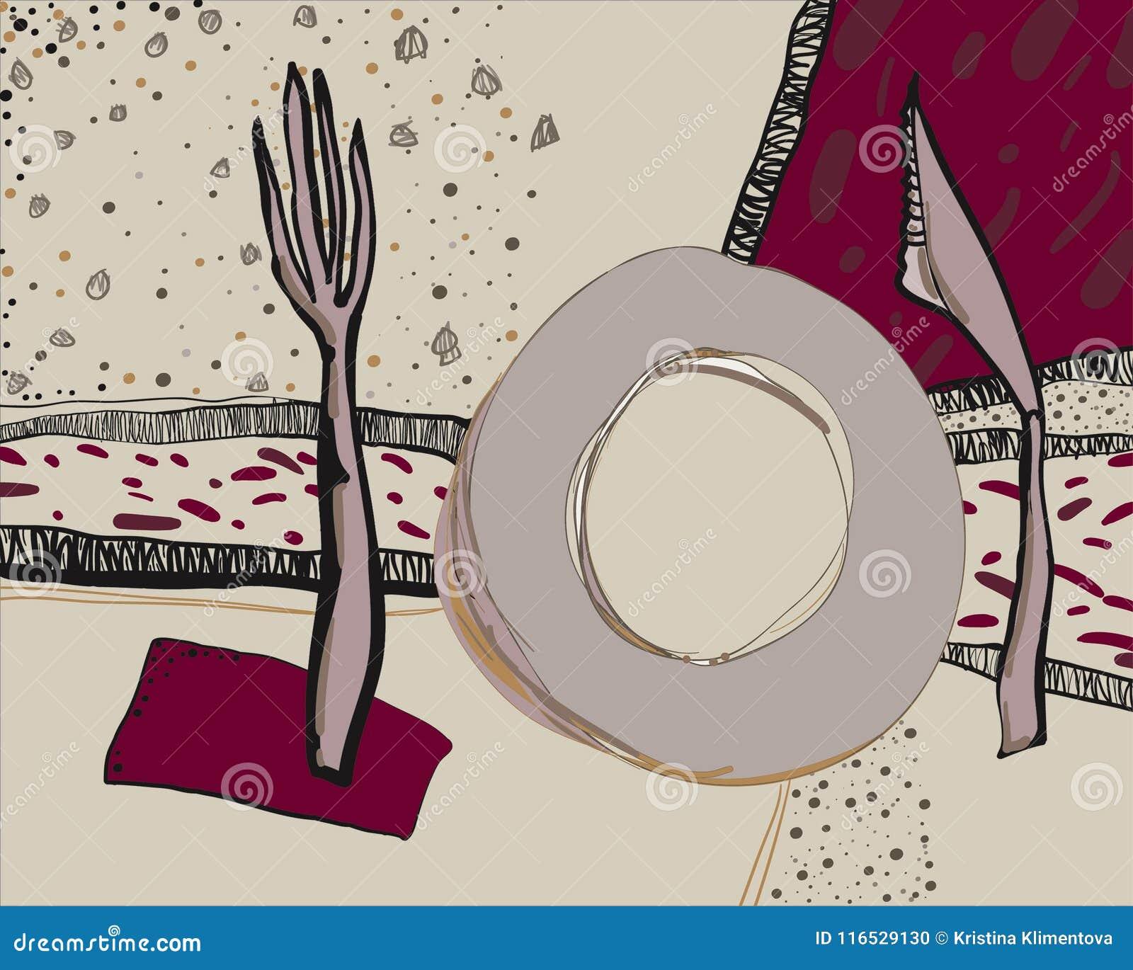 Illustrazione disegnata a mano di vettore delle stoviglie Scarabocchio decorativo degli utensili della cucina