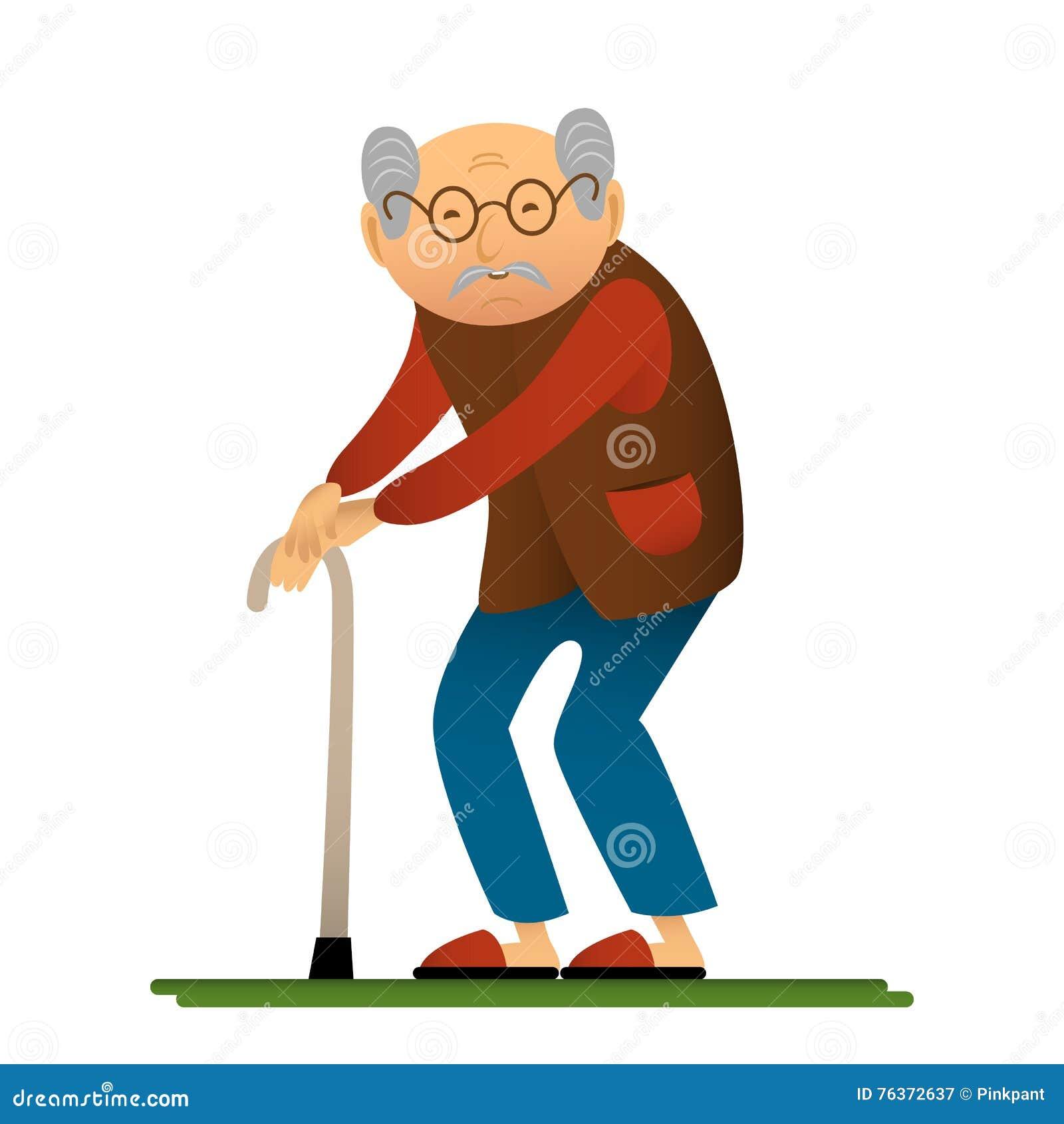Illustrazione divertente dell uomo anziano con la canna