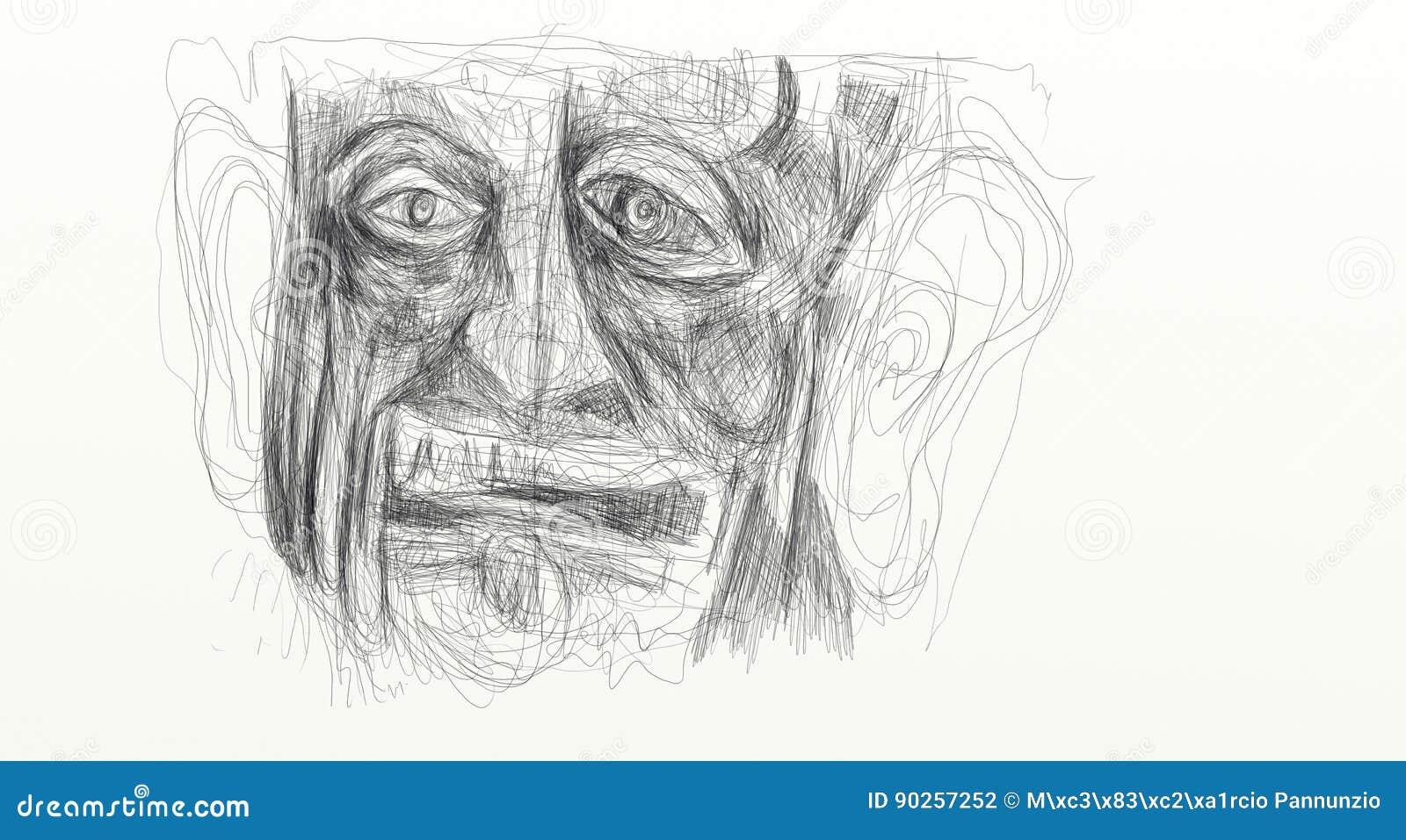 Illustrazione fatta dal dettaglio digitale di rappresentazione del disegno del fronte di un uomo afflitto, sgomento, stupito Mini