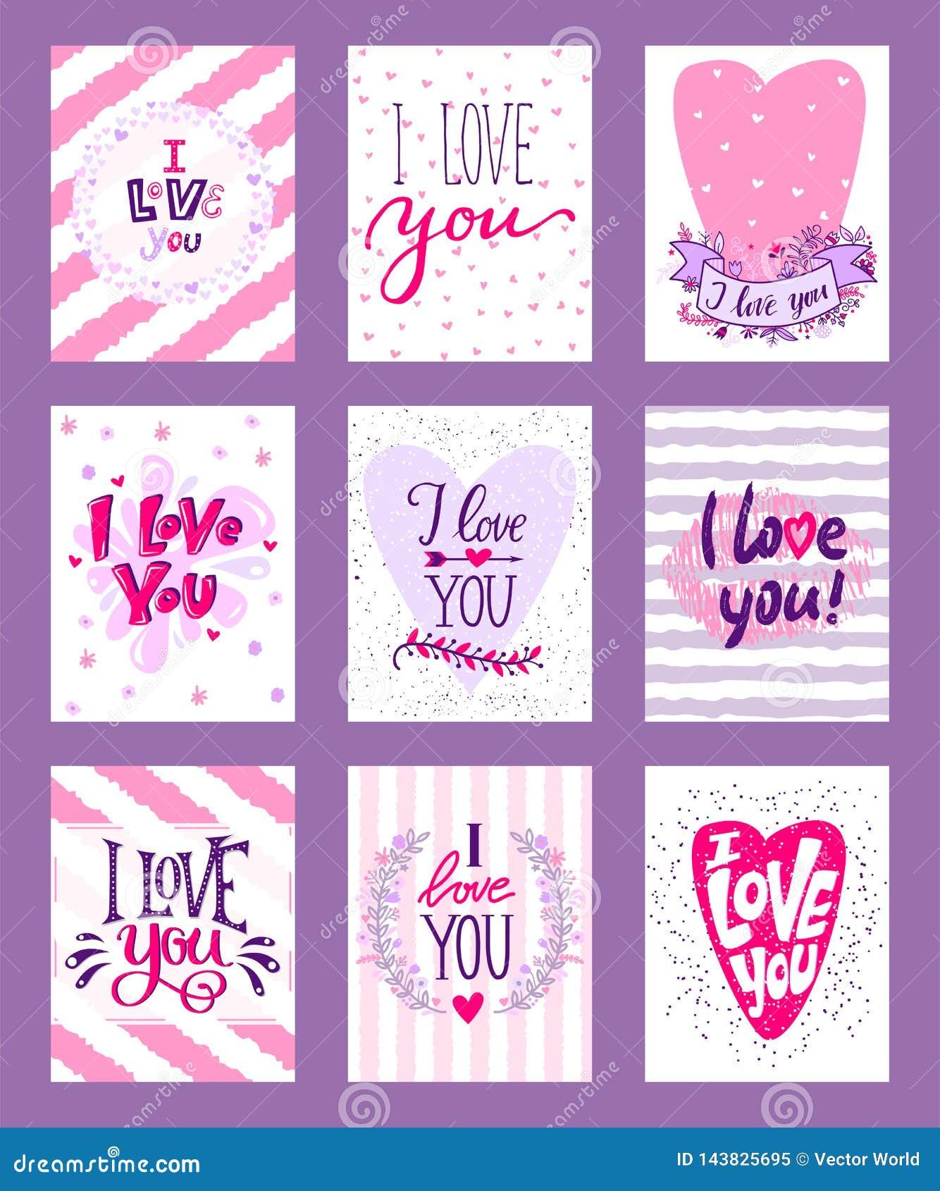 Illustrazione felice di vettore di giorno di biglietti di S. Valentino Insieme della cartolina d auguri romantica dei biglietti d