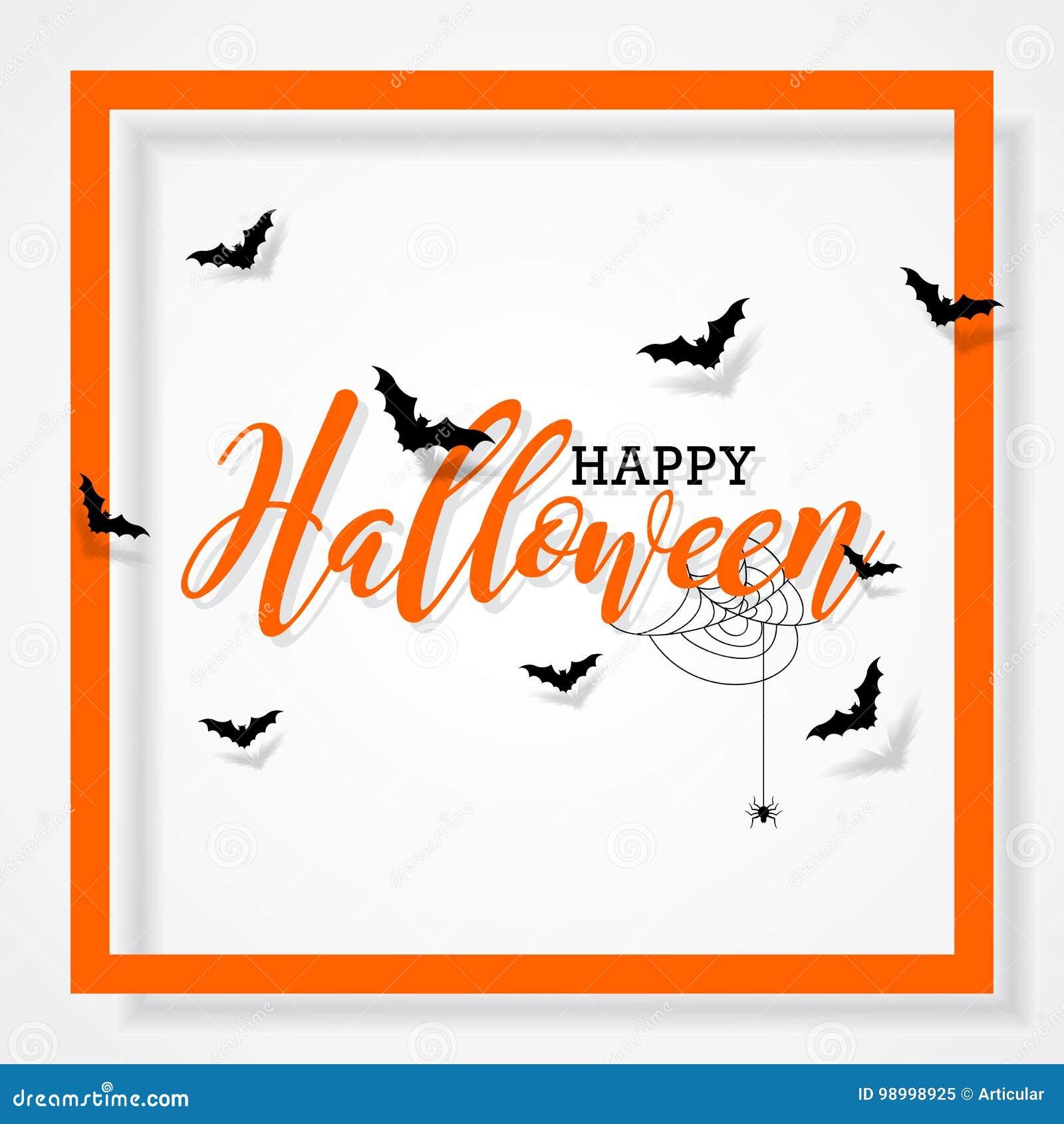 Illustrazione felice di vettore di Halloween con i pipistrelli ed il ragno su fondo nero Progettazione di festa per la carta, il
