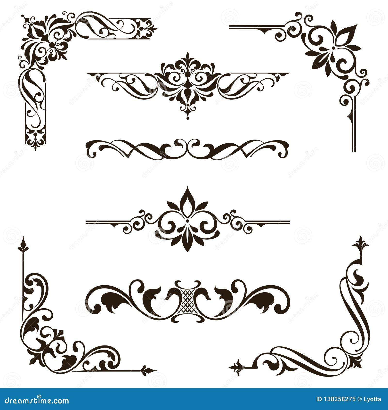Illustrazione floreale di progettazione di art deco degli autoadesivi dei confini delle strutture degli angoli degli elementi deg