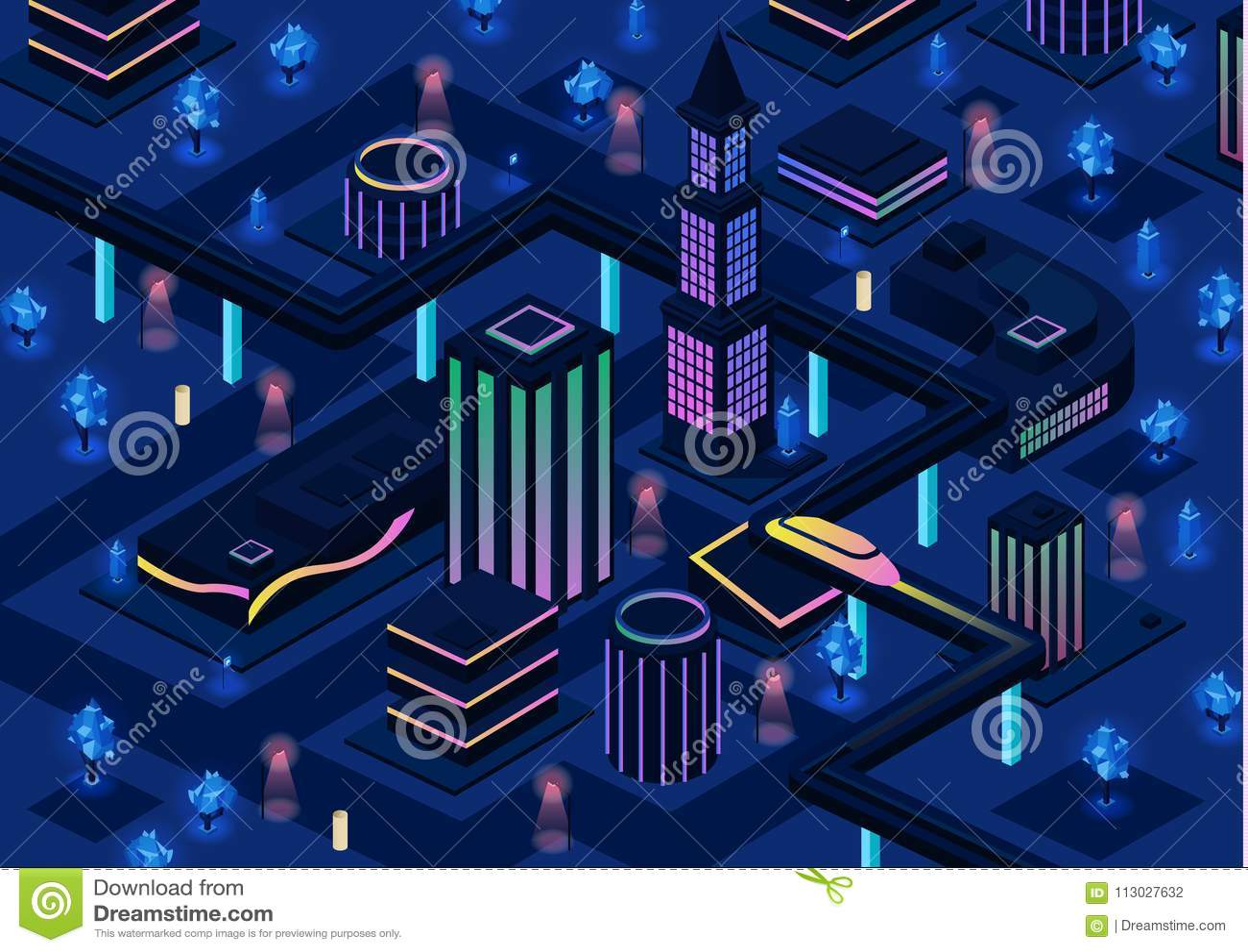 Illustrazione futuristica isometrica di vettore della città dell infrastruttura astuta della città di notte futura 3d con tecnolo