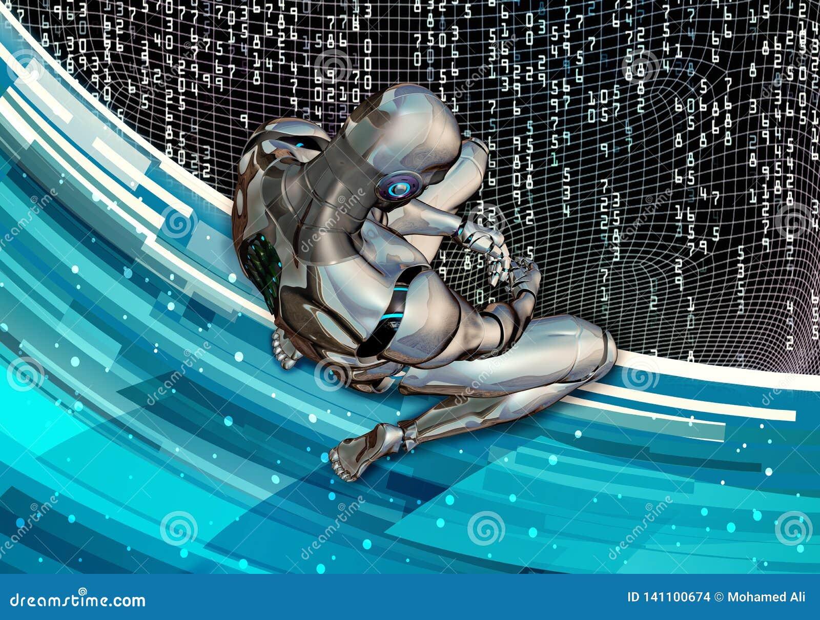 Illustrazione generata da computer artistica astratta 3d di una regolazione intelligente artificiale triste dell uomo nella resa