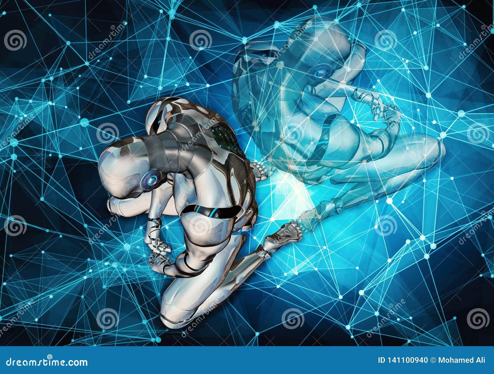 Illustrazione generata da computer artistica unica 3d dell estratto di un uomo intelligente artificiale triste che mette nella sc