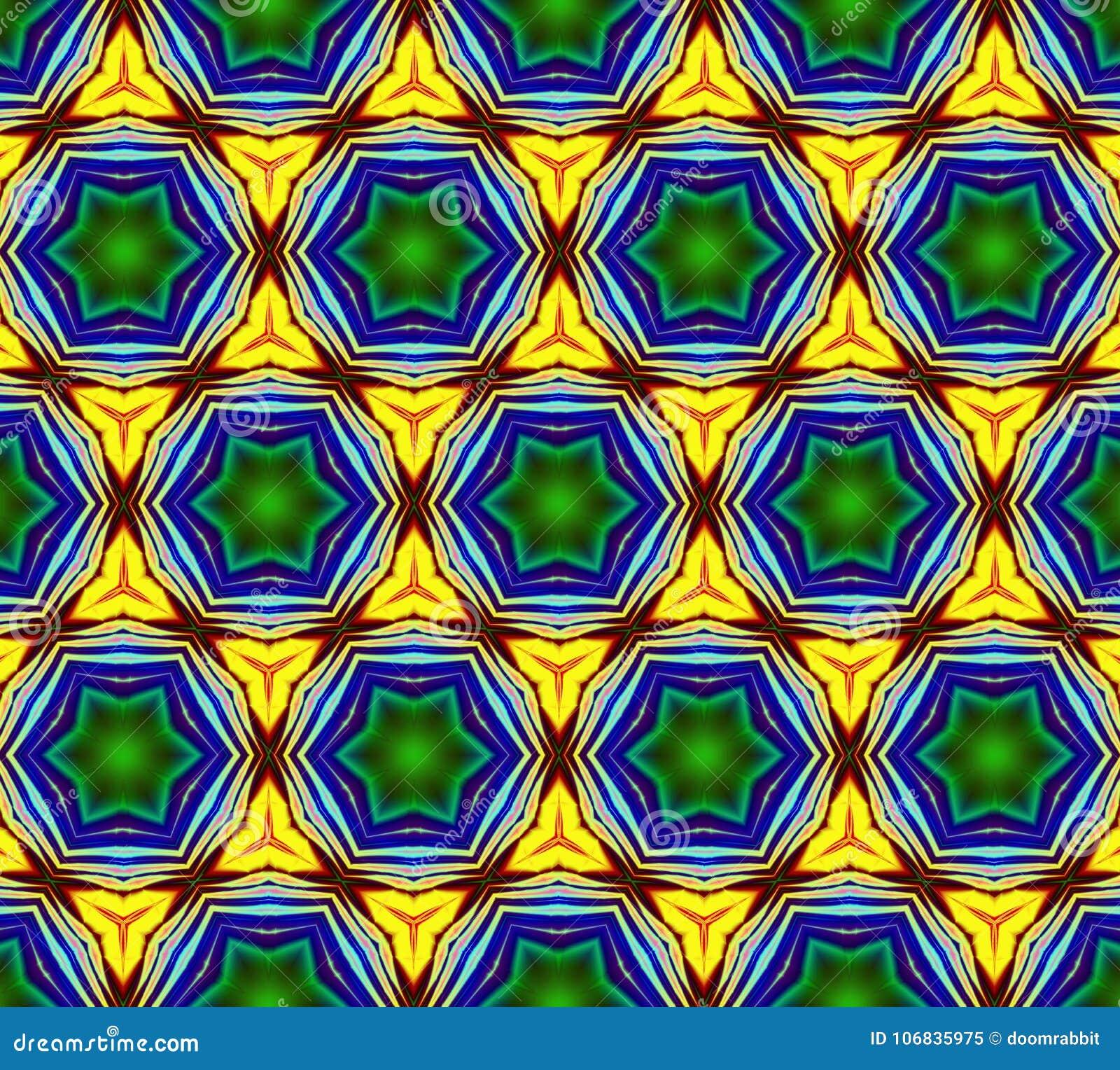 Illustrazione generata da computer con patt caleidoscopico astratto
