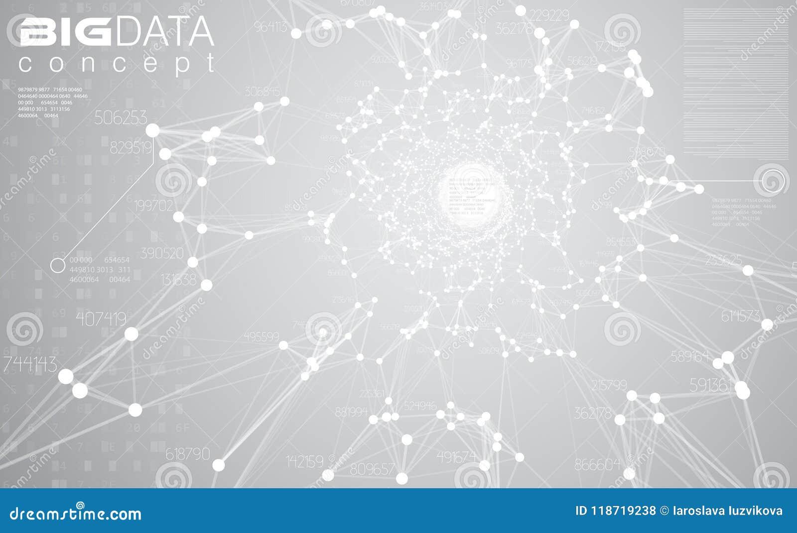 Illustrazione grigio chiaro di vettore del fondo di grandi dati Le informazioni bianche scorrono la visualizzazione concentrare T