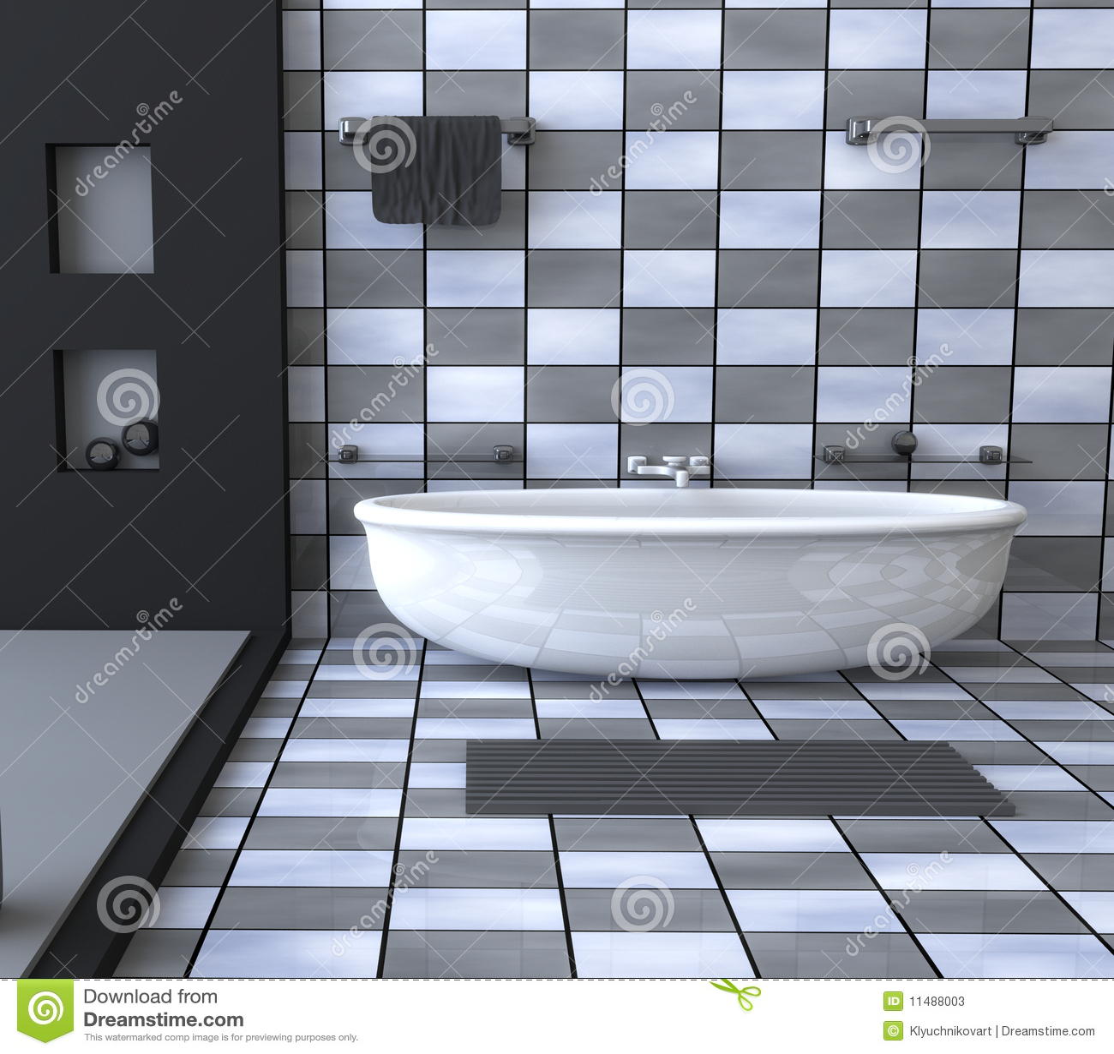 Interno Bianco E Blu Del Bagno Fotografia Stock - Immagine: 45848004