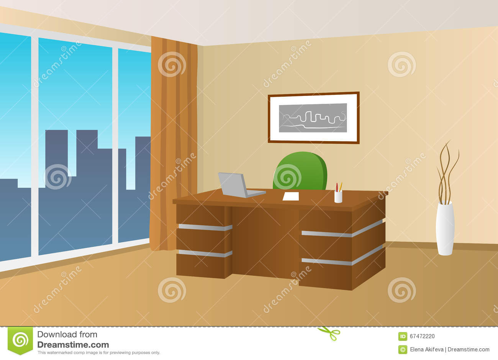 Illustrazione interna beige della finestra della sedia di for Stanza uso ufficio