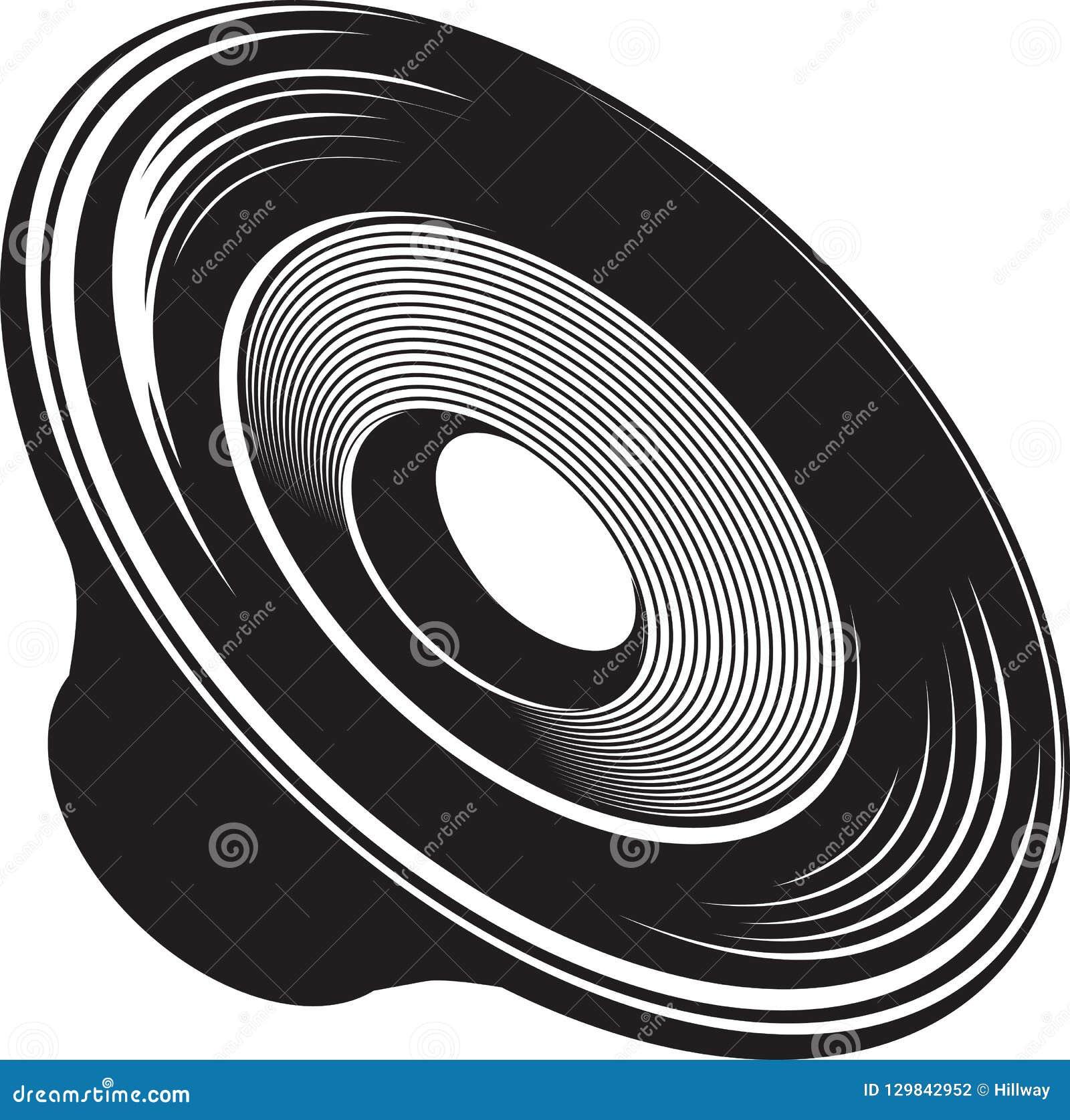 Illustrazione isolata in bianco e nero del dispositivo acustico dell altoparlante