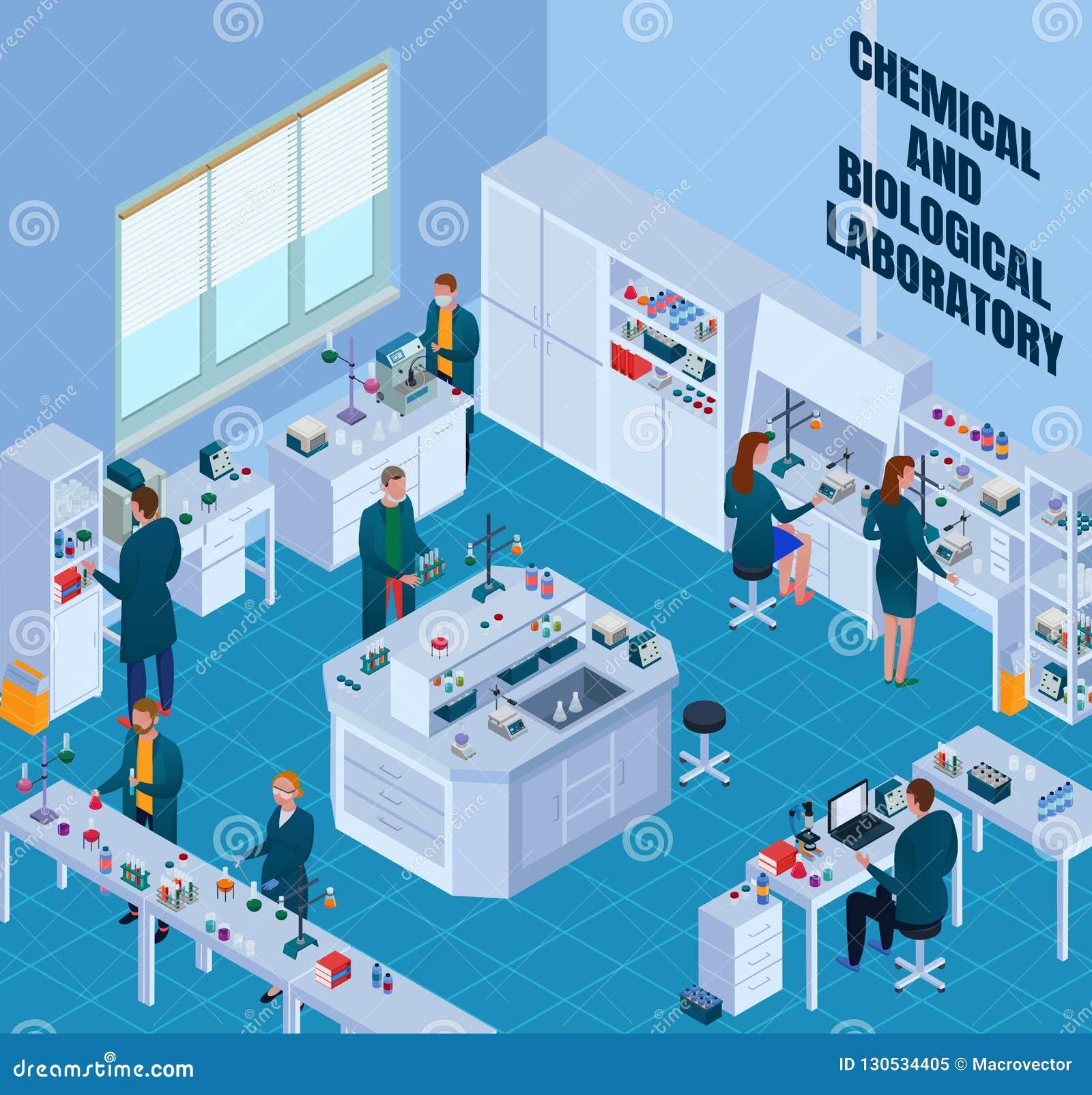 Illustrazione isometrica del laboratorio biologico chimico