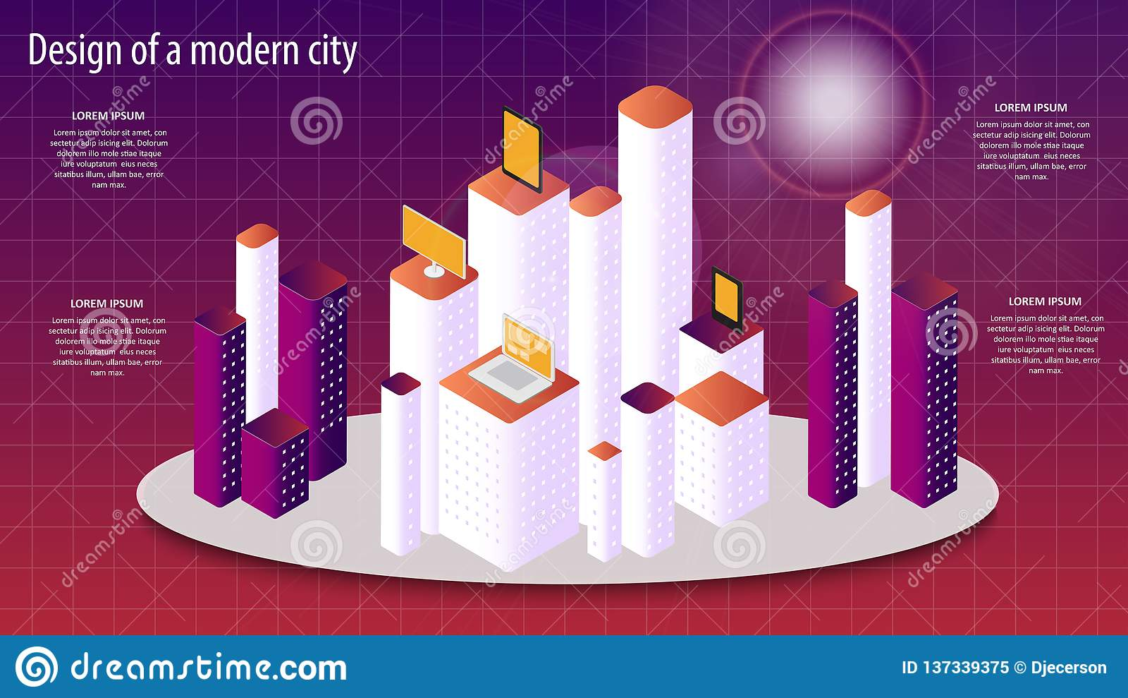 Illustrazione isometrica di vettore 3d di una progettazione moderna della città ENV 10