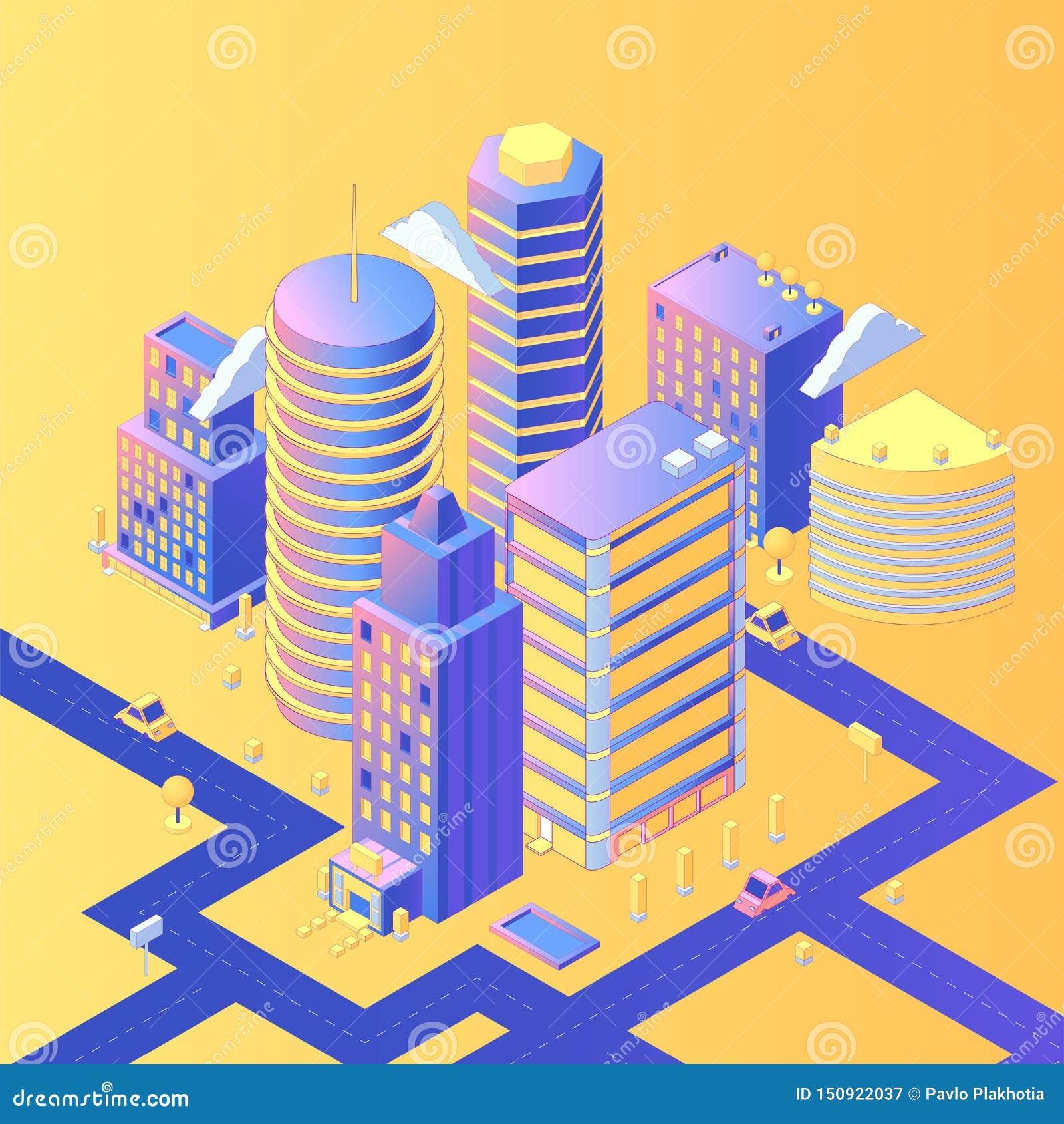 Illustrazione isometrica di vettore della città futuristica