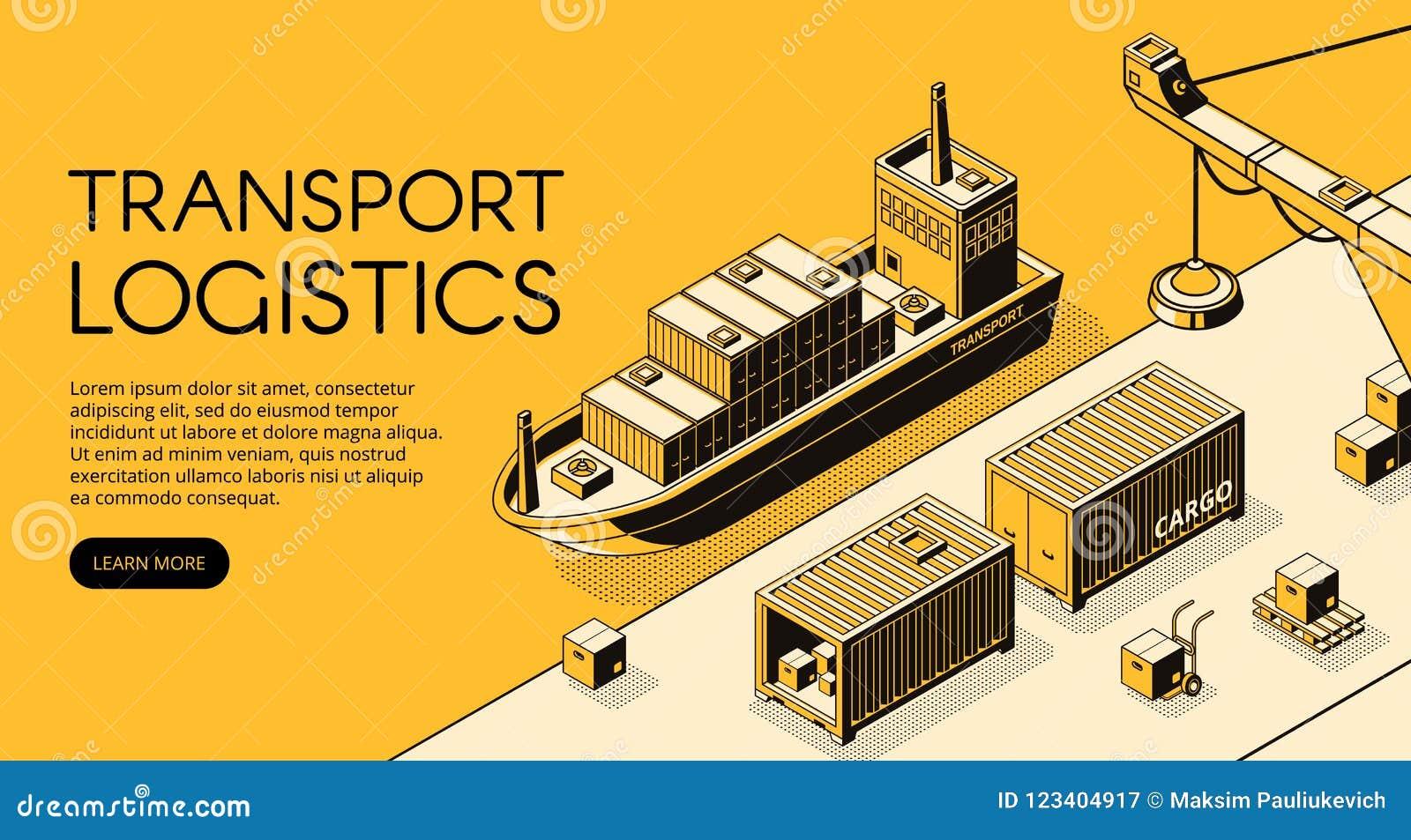 Illustrazione isometrica di vettore di logistica del carico della nave