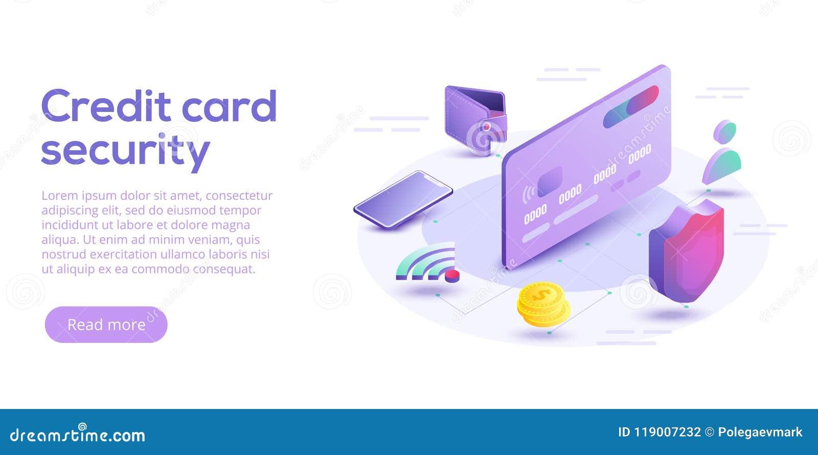 Illustrazione isometrica di vettore di sicurezza della carta di credito Payme online
