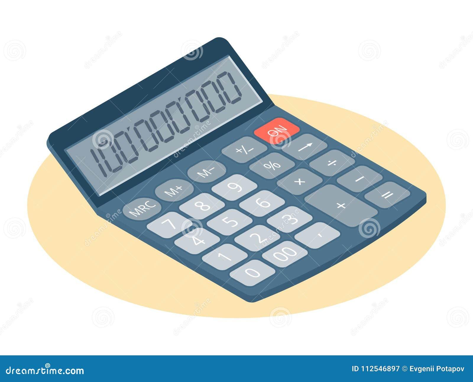 Illustrazione isometrica piana della calcolatrice elettronica Affare w