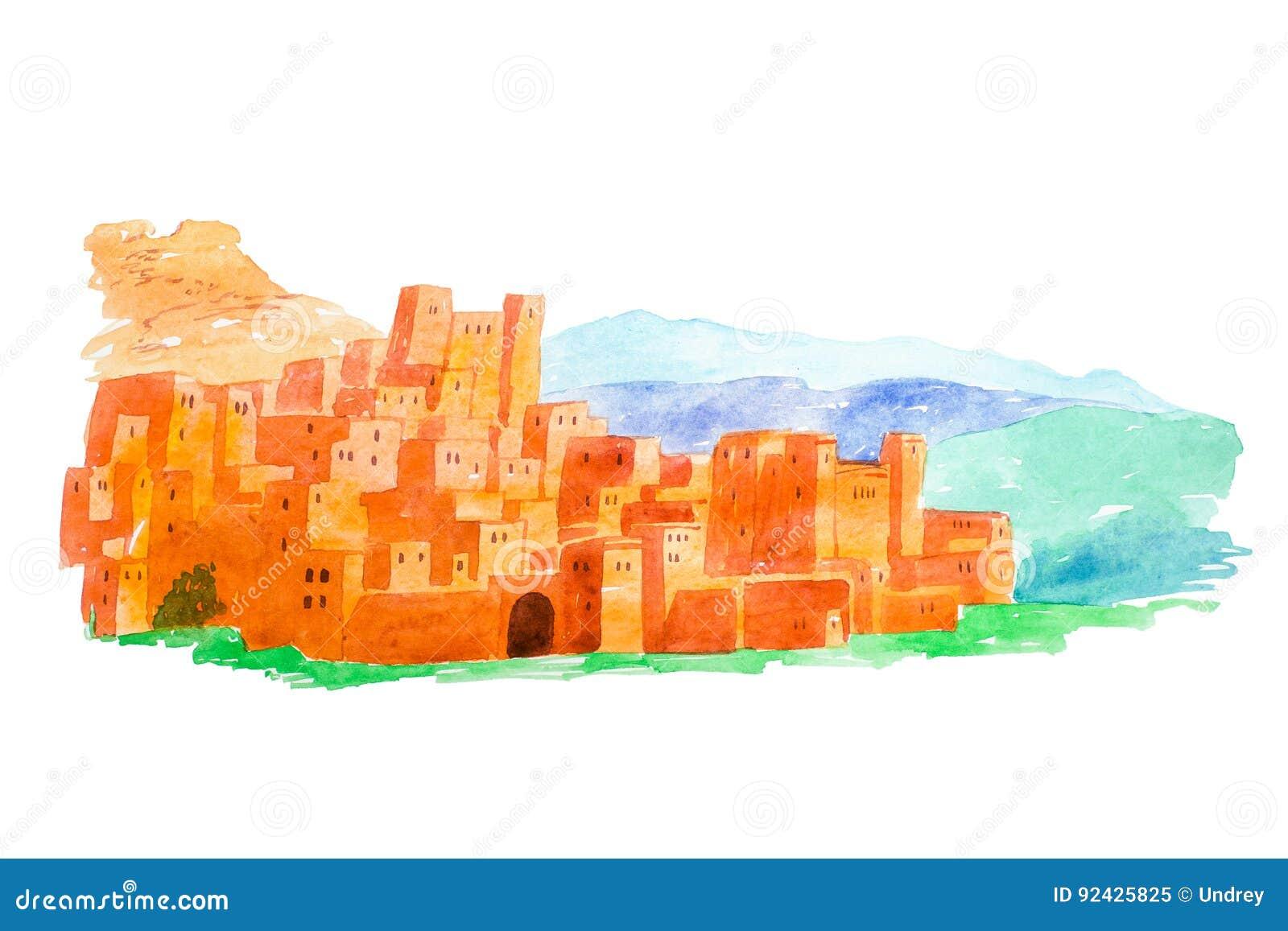 Illustrazione Kasbah Ait Ben Haddou dell acquerello nelle montagne di atlante del Marocco