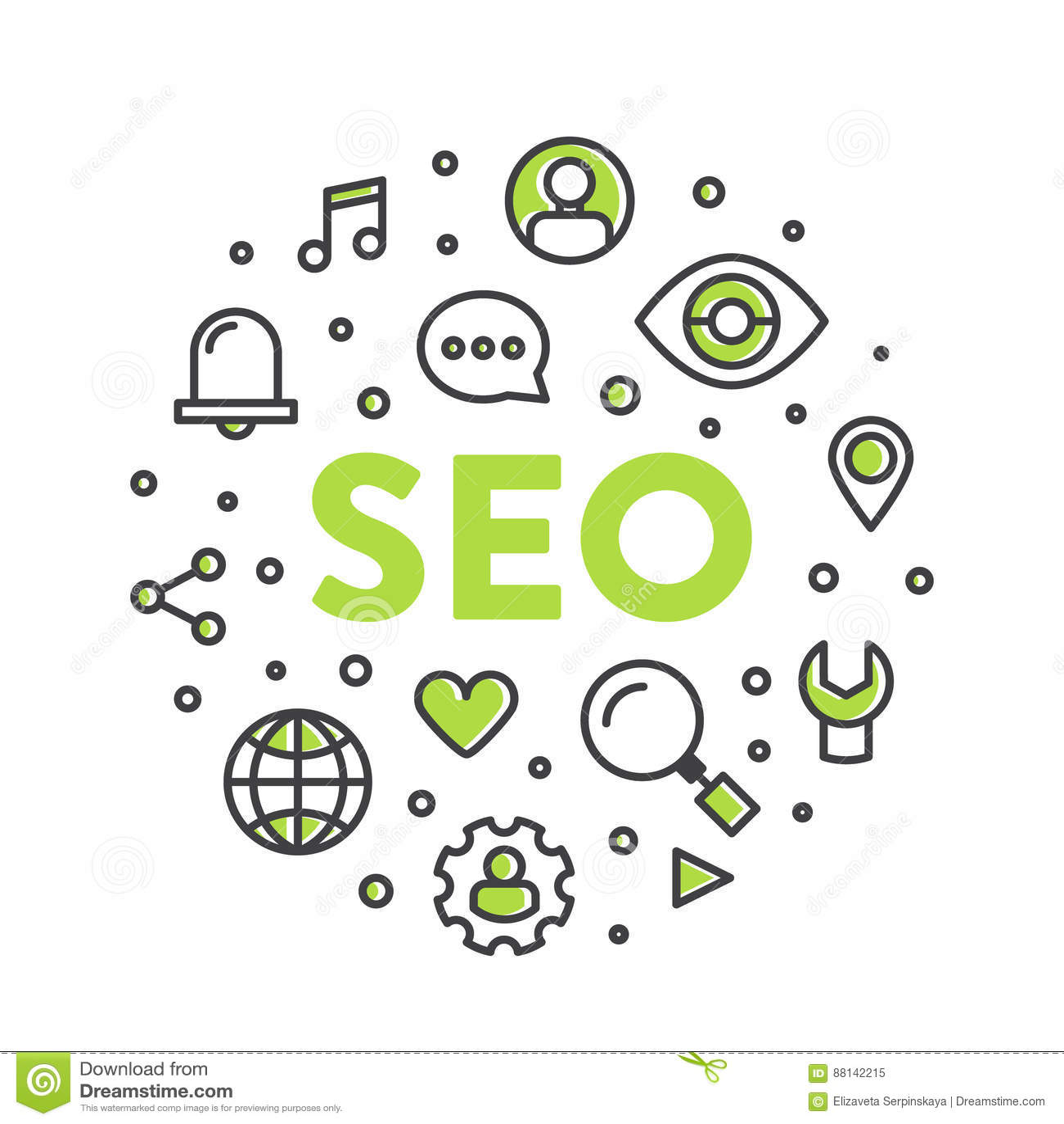 Illustrazione Logo Concept di SEO Search Engine Optimization Process
