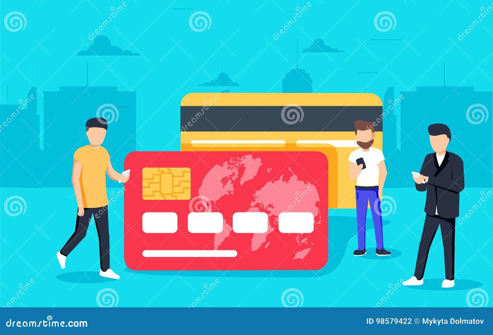 Illustrazione mobile di concetto di attività bancarie della gente che sta le carte di credito vicine