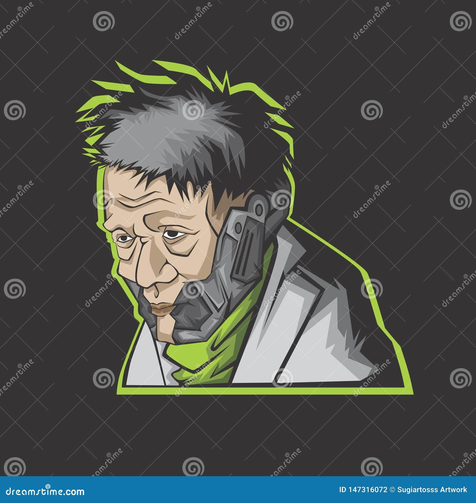 Illustrazione moderna dell uomo anziano